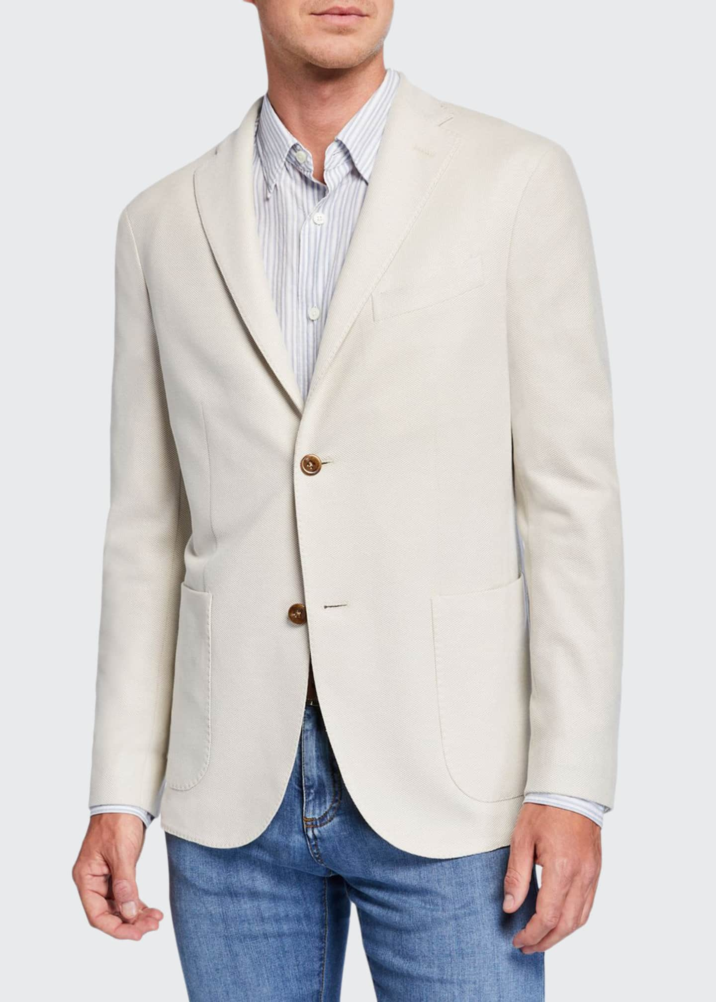 Image 1 of 3: Men's Solid Pique Two-Button Jacket