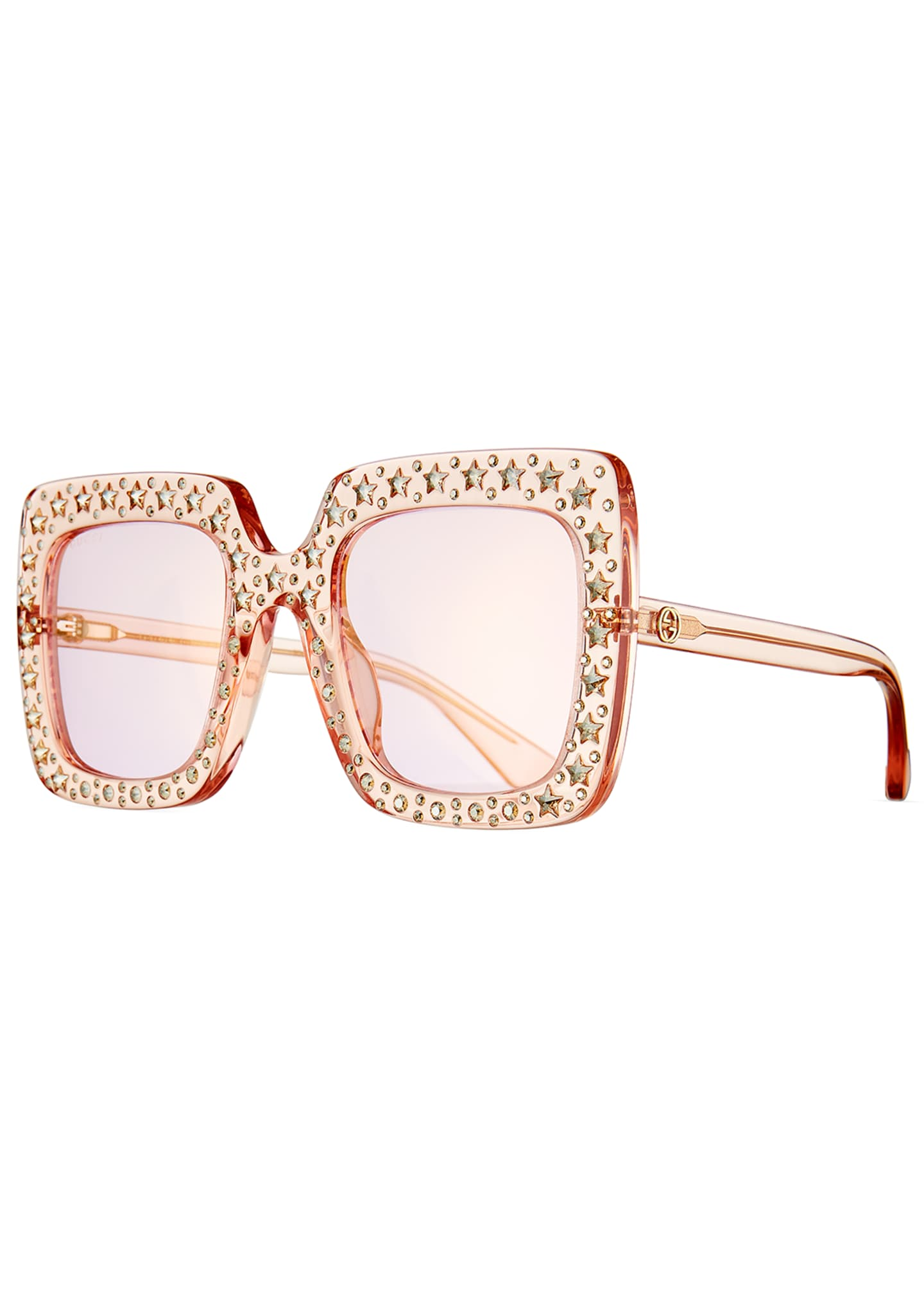 Gucci Oversized Square Transparent Sunglasses w/ Crystal Star