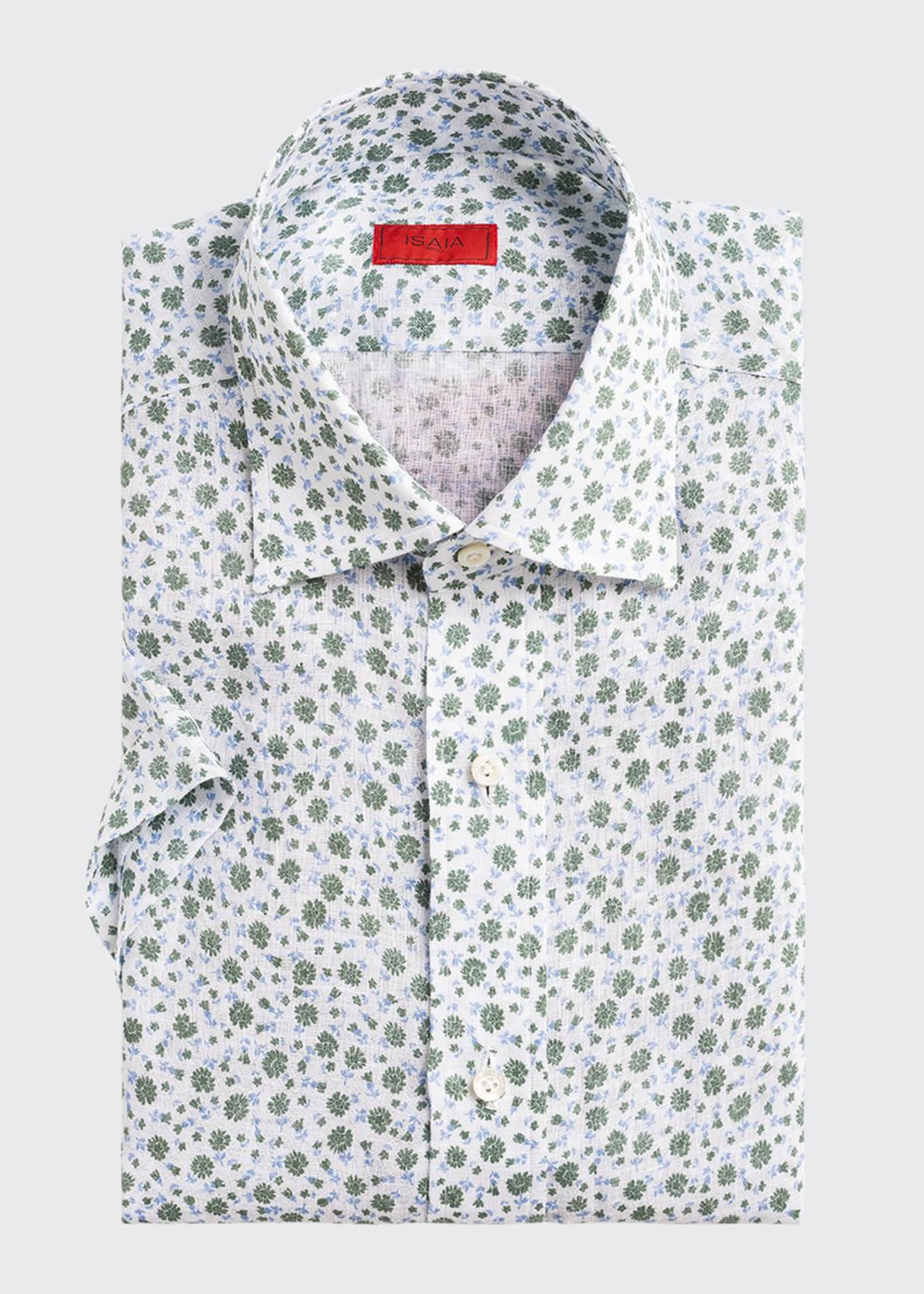 Image 1 of 2: Men's Two-Tone Floral-Print Short-Sleeve Sport Shirt