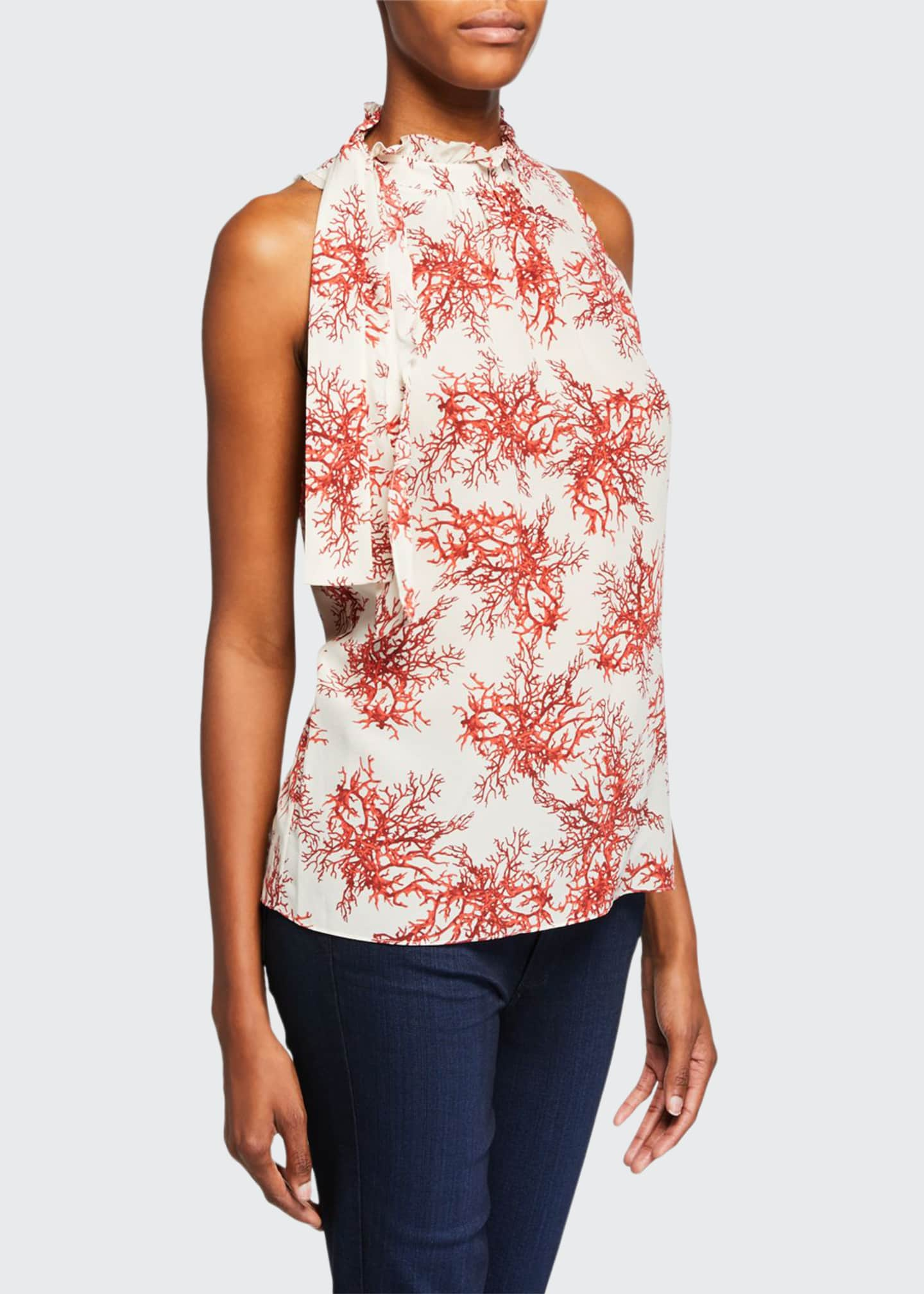 Image 1 of 2: Maxi Coral-Print Mock-Neck Sleeveless Blouse