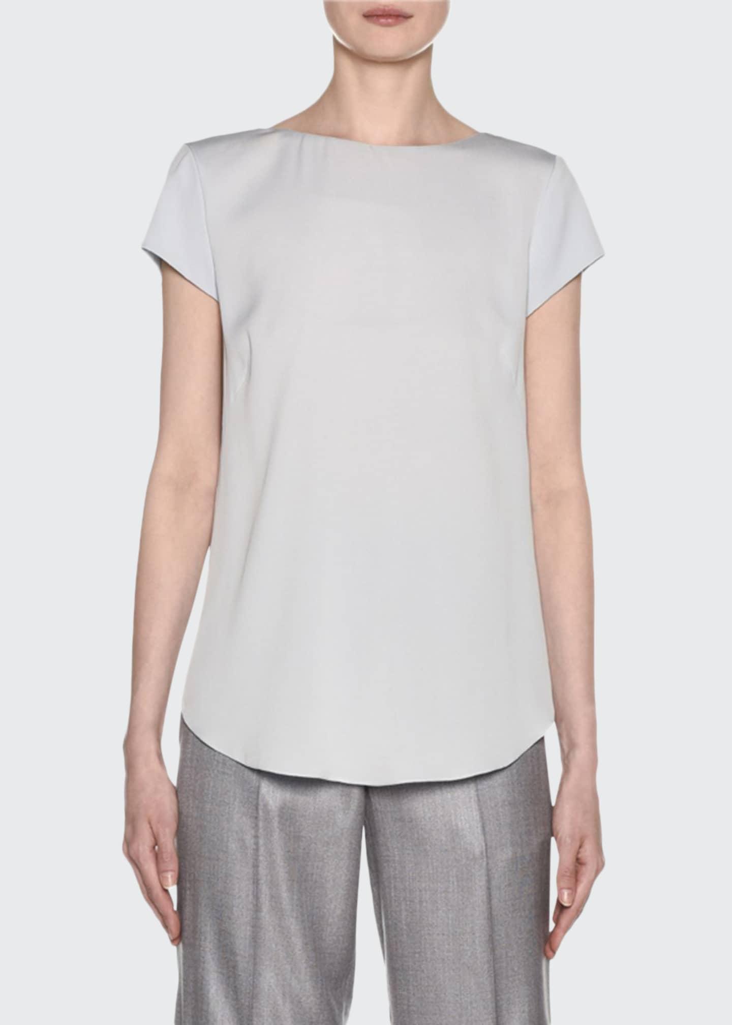 Giorgio Armani Short-Sleeve Crisscross Back Silk Blouse