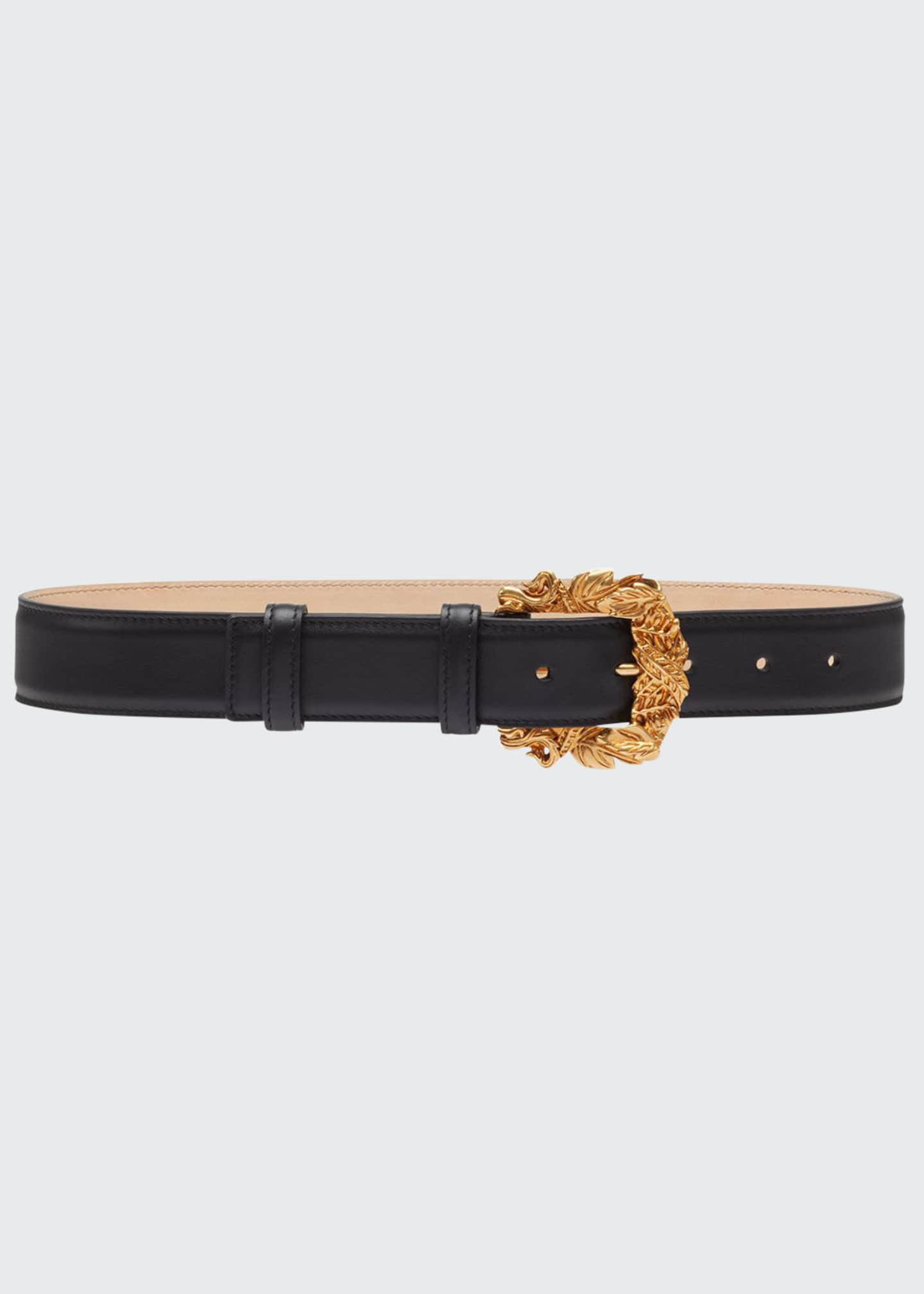 Image 1 of 2: Leather Baroque-Buckle Belt