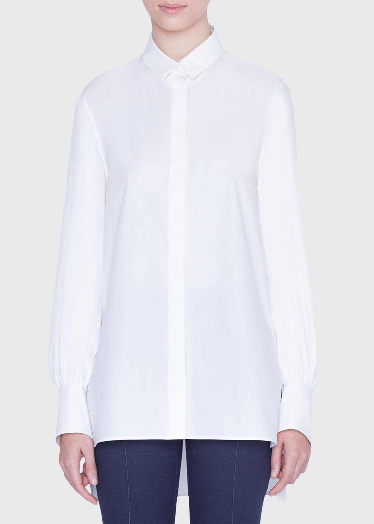 Akris punto Poplin Kent-Collar Button-Front Blouse