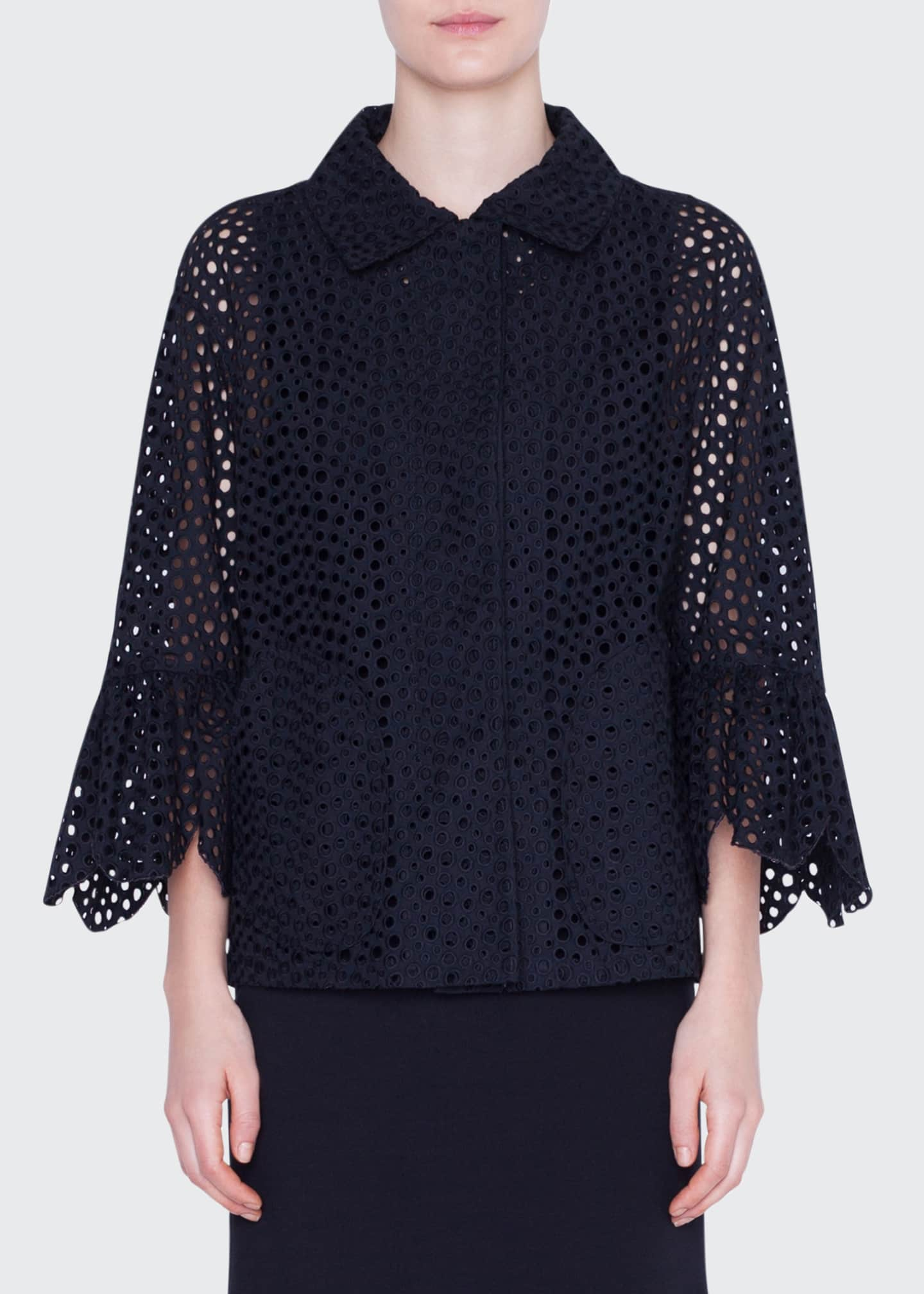 Akris punto Eyelet-Embroidered Jacket