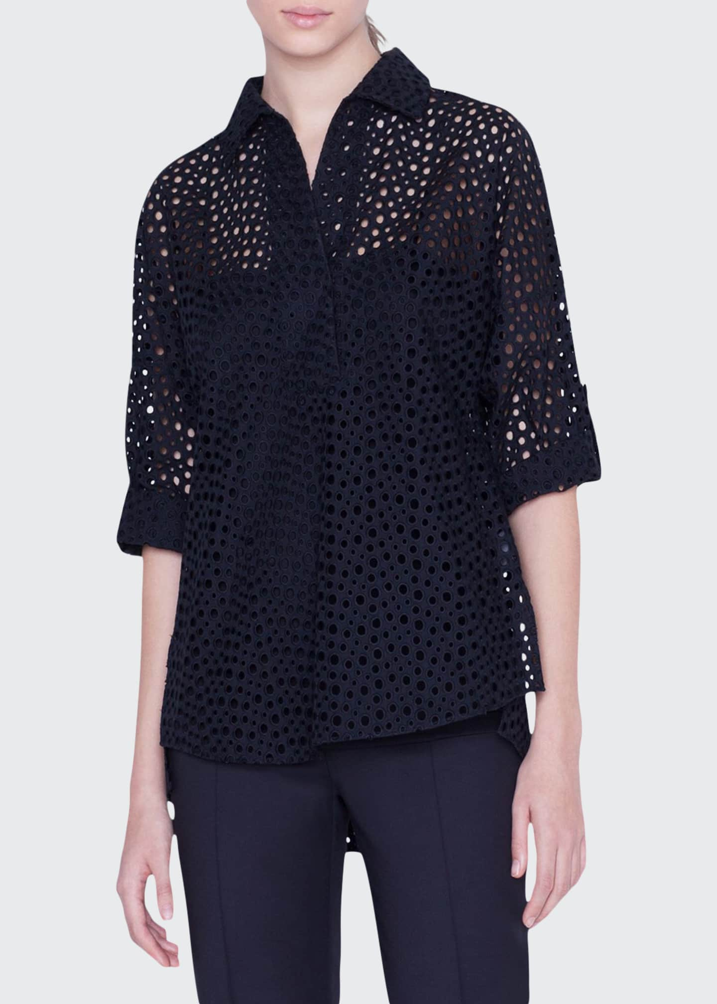 Akris punto Dotted Lace 3/4-Sleeve Popover Blouse