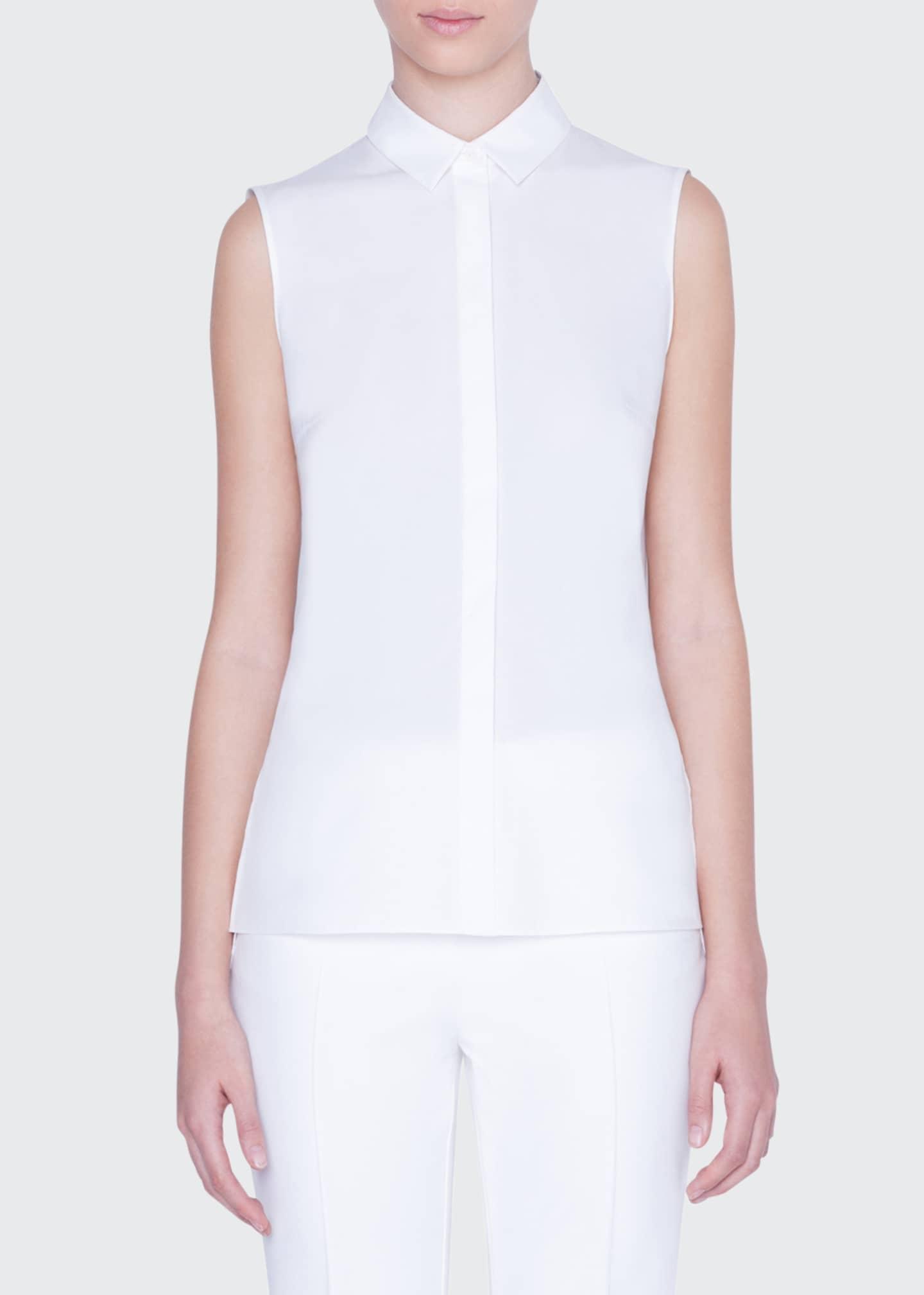 Akris punto Sleeveless Button-Front Shirt with Embroidered-Peplum