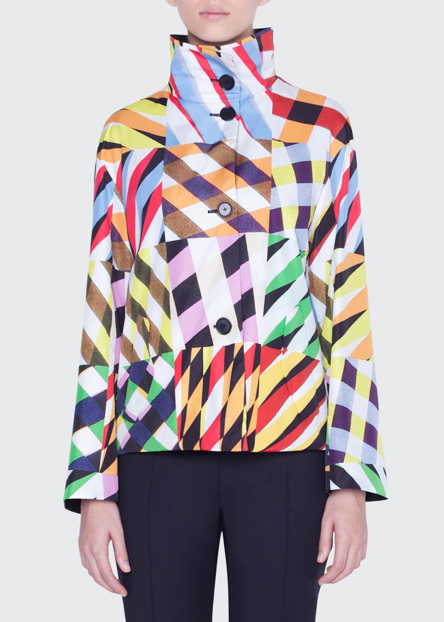 Akris punto Reversible Patchwork Print Taffeta Jacket