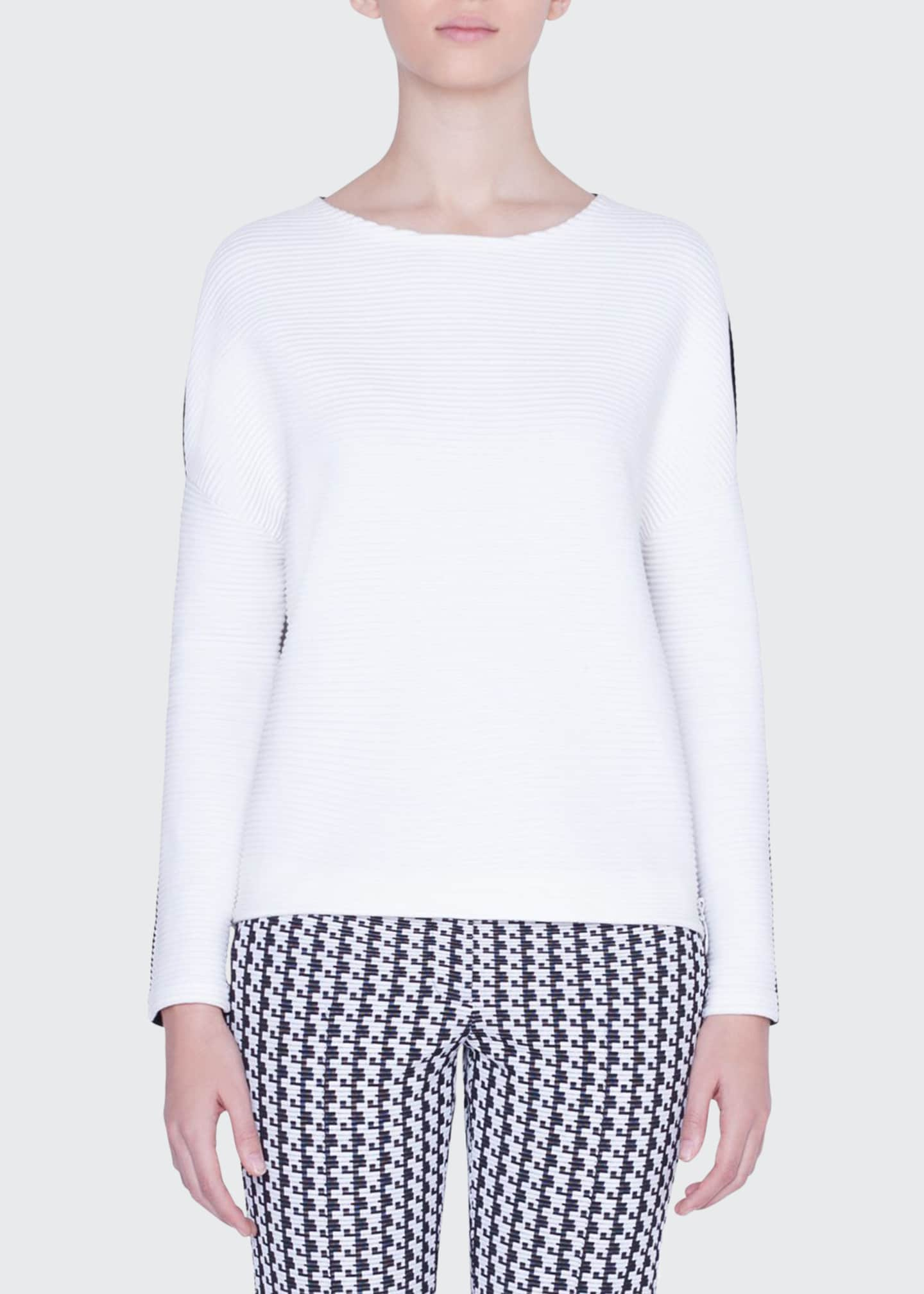 Akris punto Bicolor Boat-Neck Side-Zip Sweater