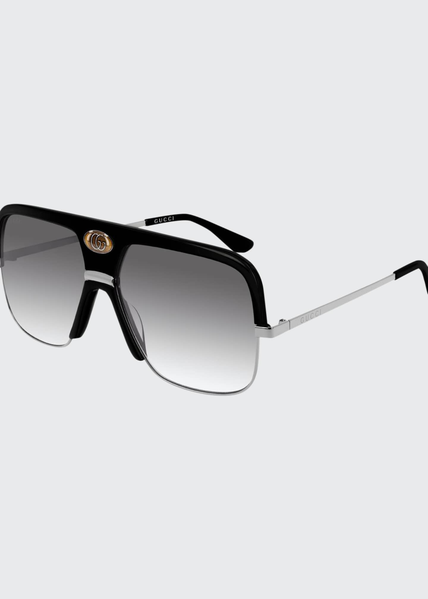 Image 1 of 1: Men's Aviator Sunglasses with Exaggerated Logo Brow