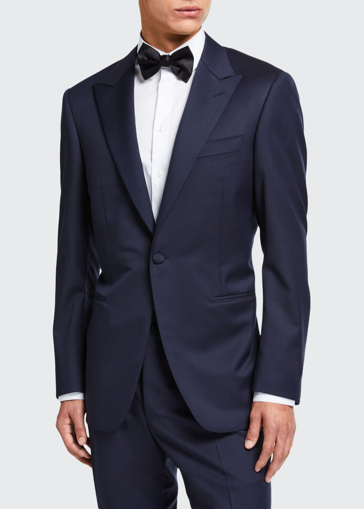 Image 1 of 4: Wool Two-Piece Tuxedo Suit with Satin Peak Lapel