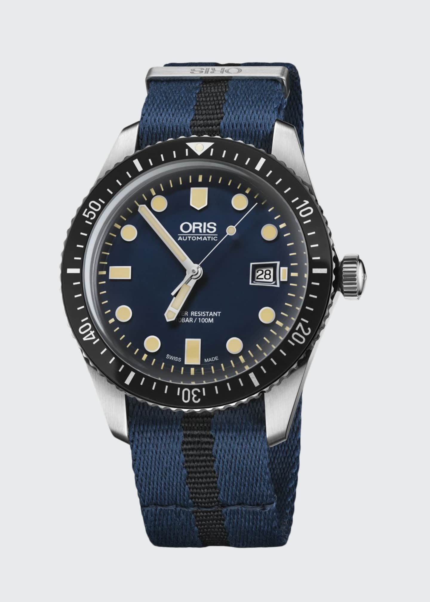 Image 1 of 1: Men's 42mm Diver Watch w/ Textile Strap, Black/Blue