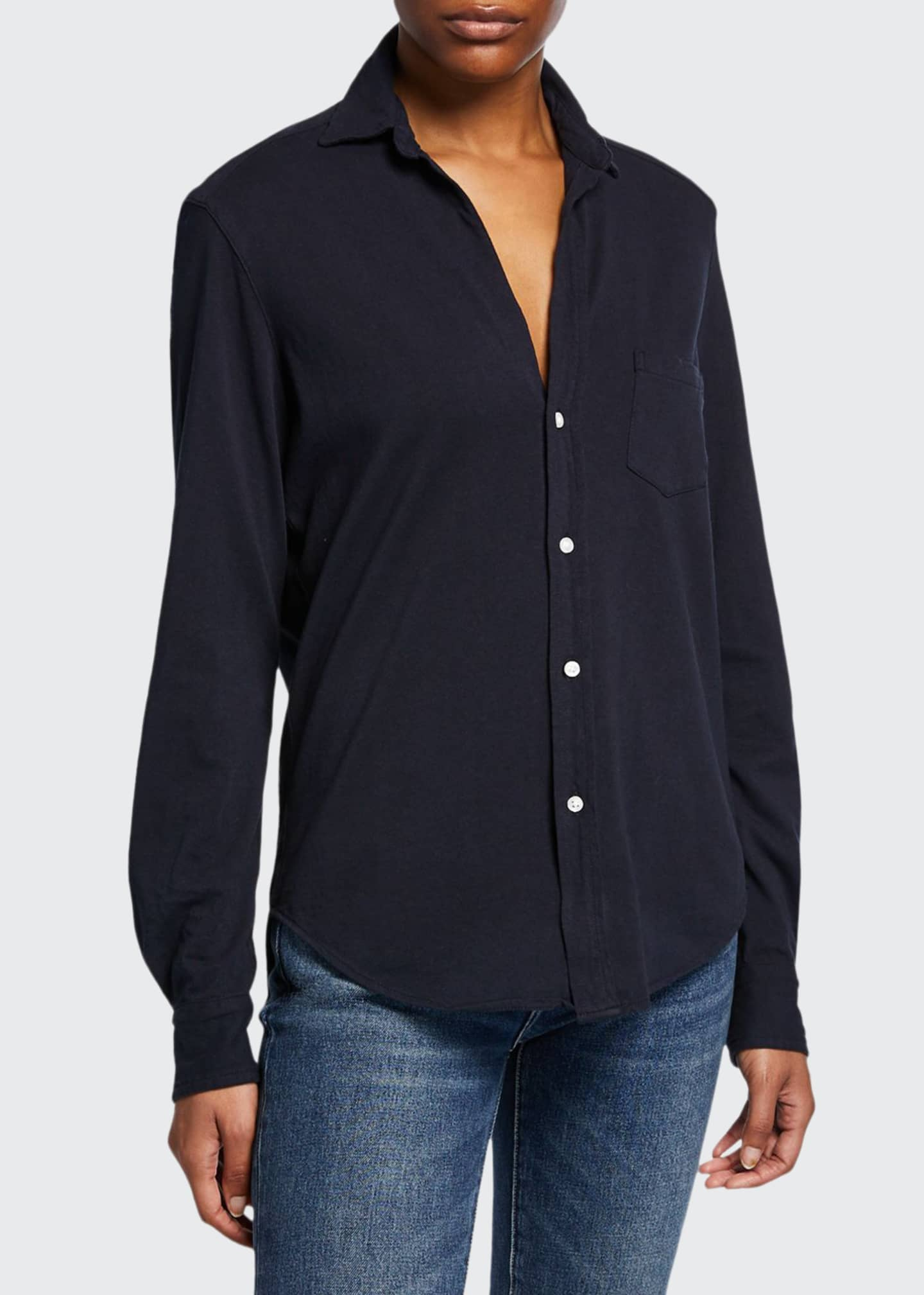Image 1 of 2: Button-Down Long-Sleeve Cotton Shirt