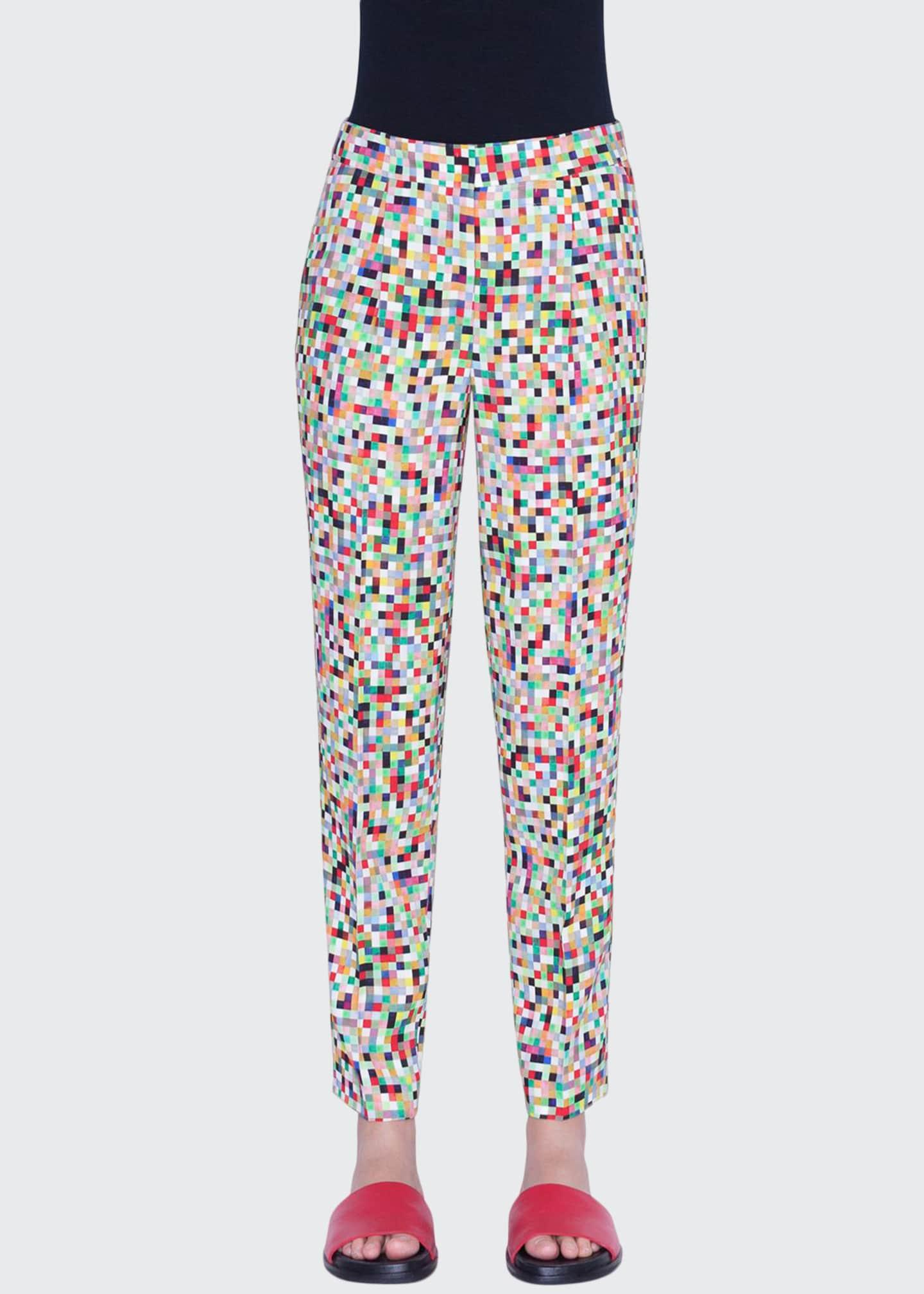 Akris punto Maiko Pixel-Print Ankle Pants