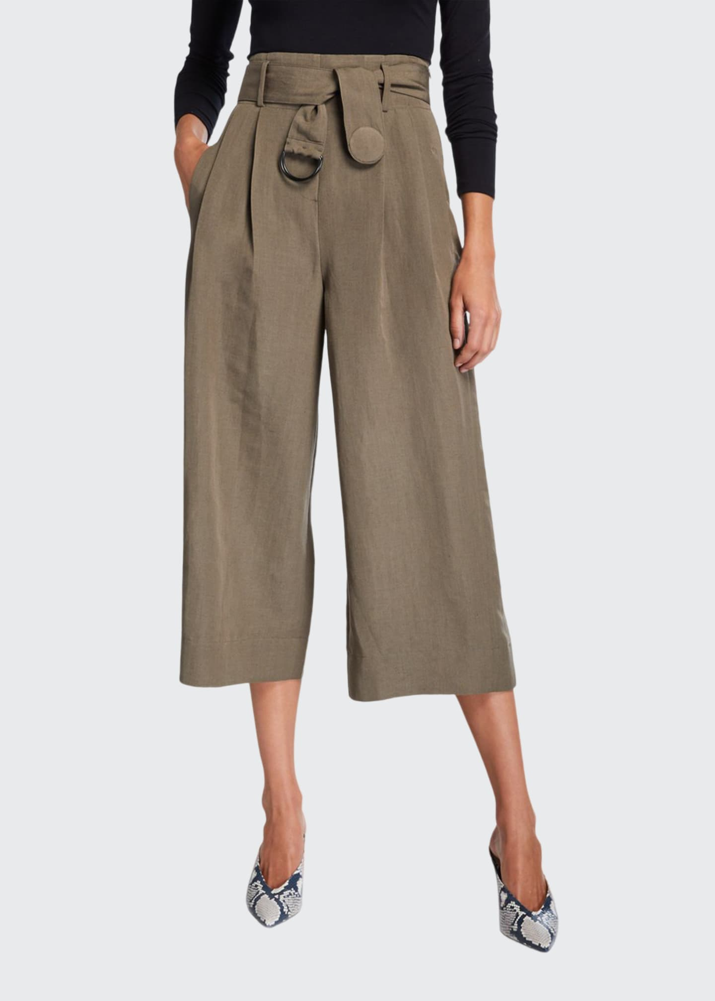 Image 1 of 3: Fiorella Cropped Wide-Leg Pants