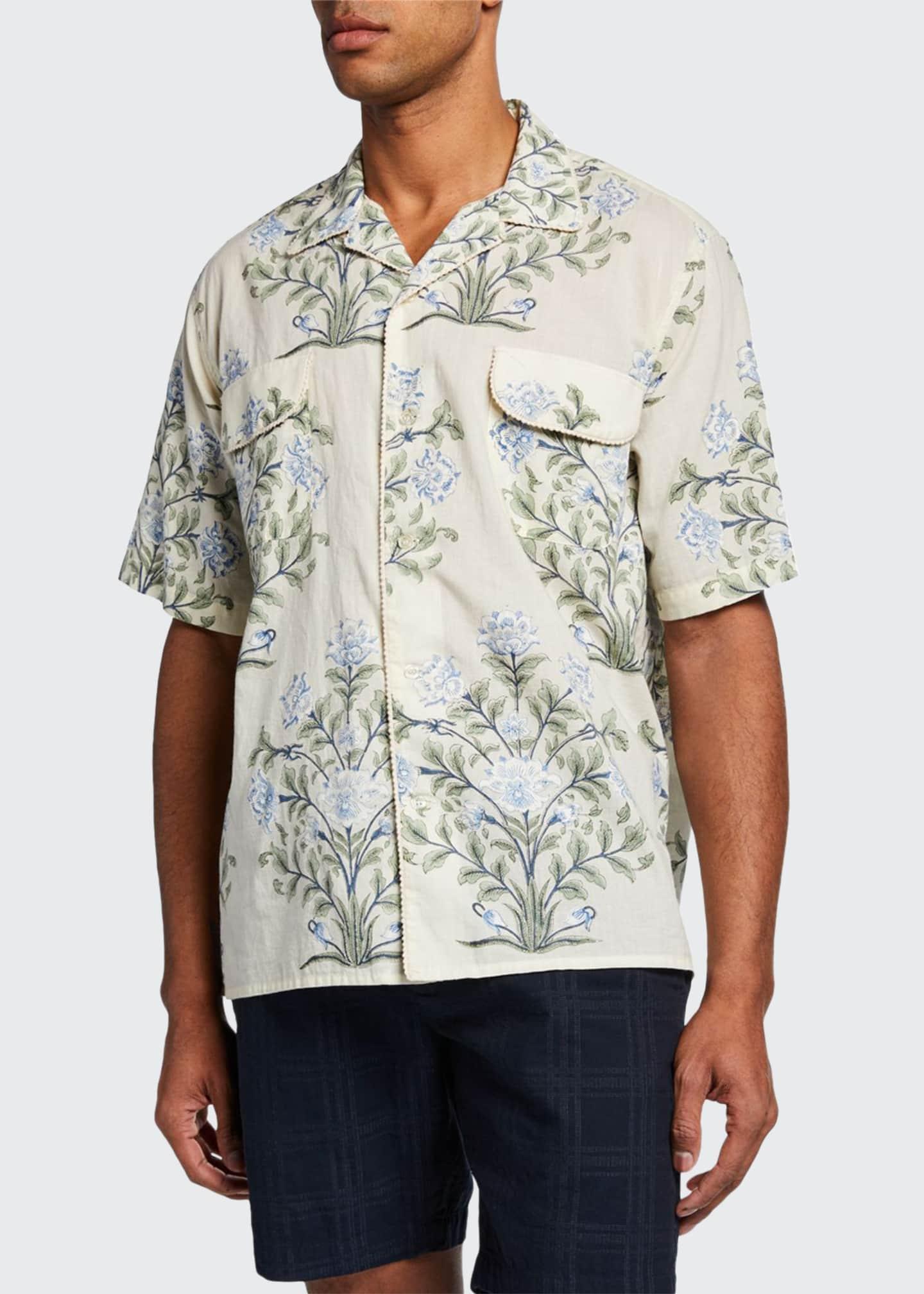 Bode Men's Indo Floral-Print Short-Sleeve Sport Shirt