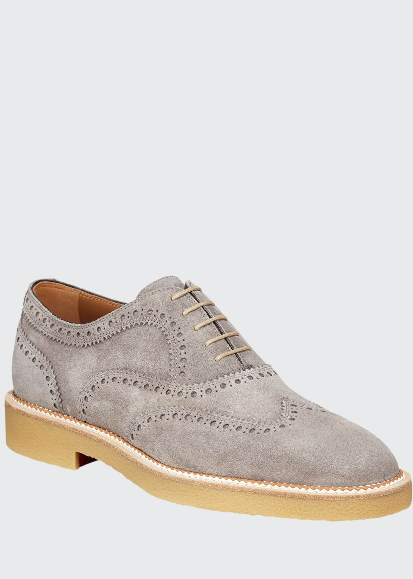 Image 1 of 4: Men's Charlie Crepe-Sole Suede Wing-Tip Oxford Shoes
