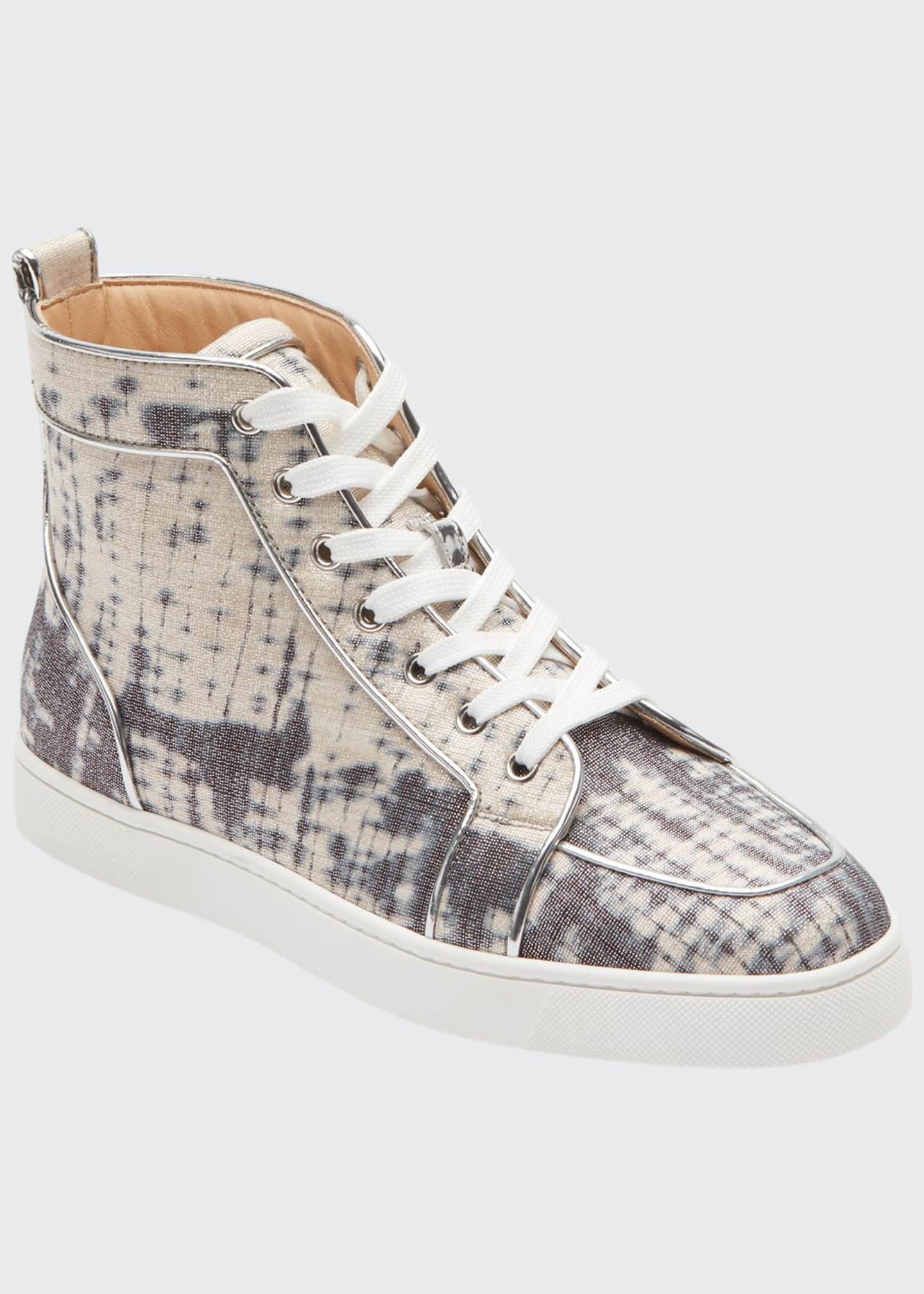 Christian Louboutin Men's Rantus Tie-Dye Linen High-Top Sneakers