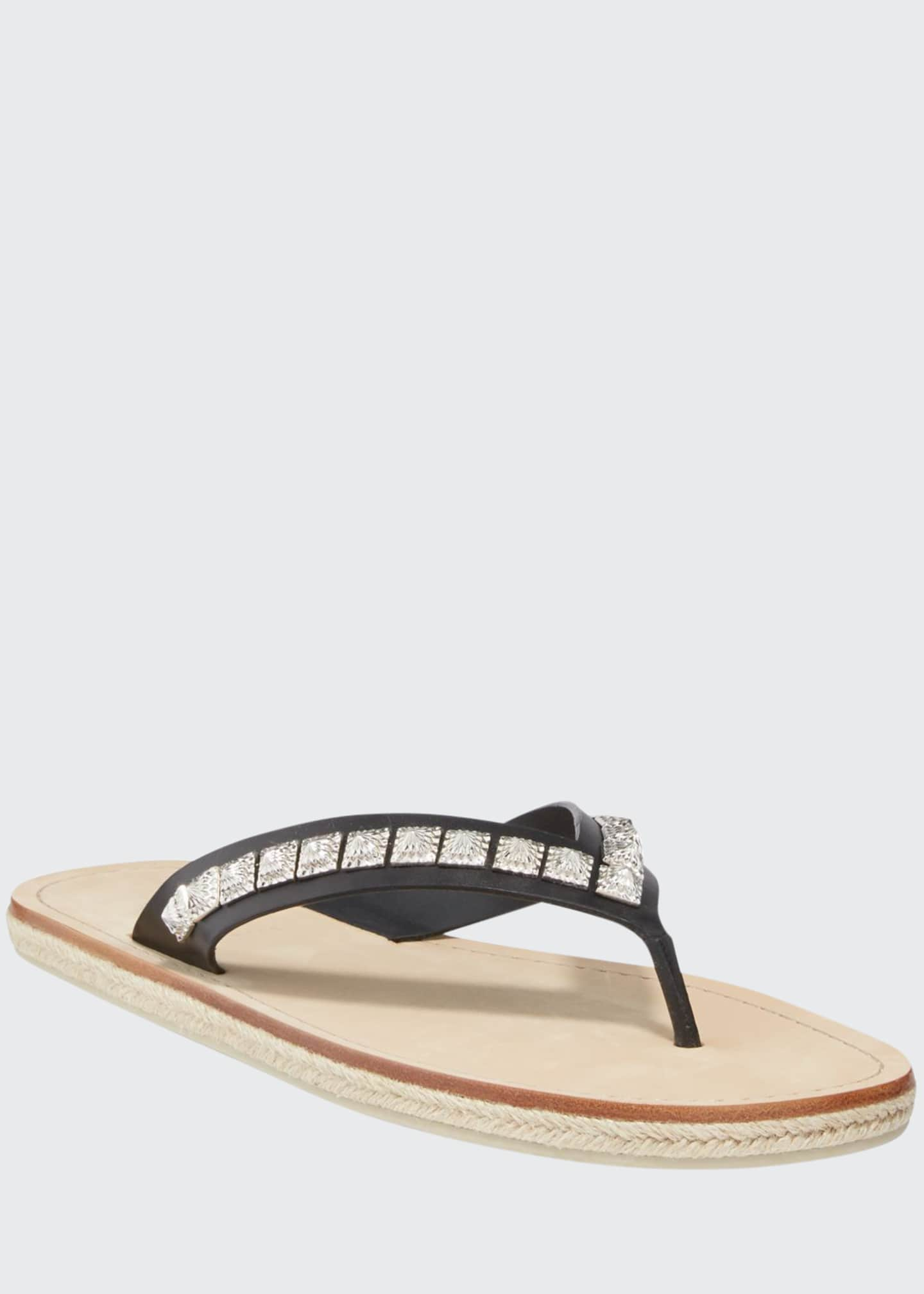 Christian Louboutin Men's Pyraclos Studded Leather Thong Sandals
