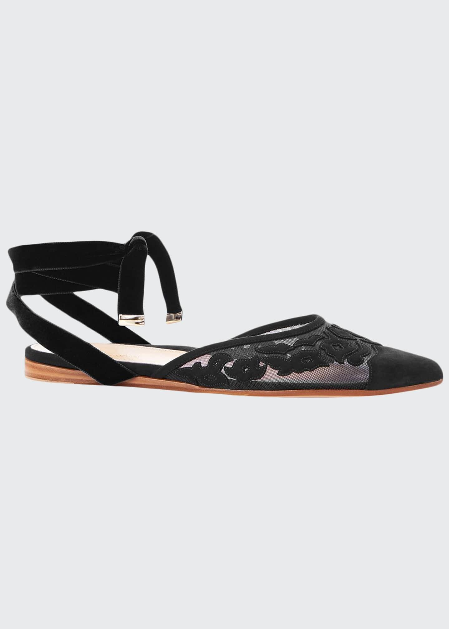Marion Parke Naomi Ankle-Tie Suede Flats