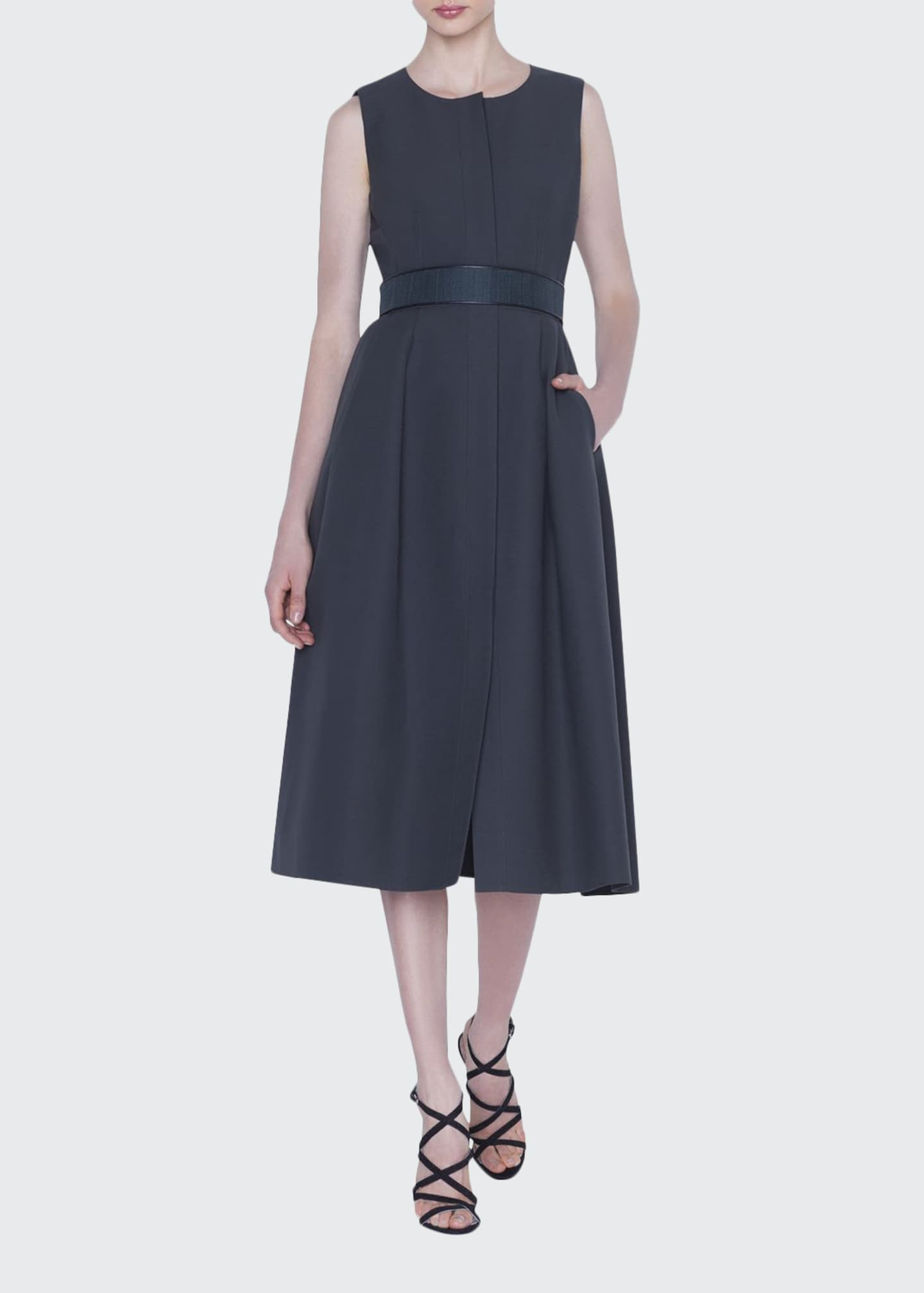 Akris Button-Front Belted Cotton Dress
