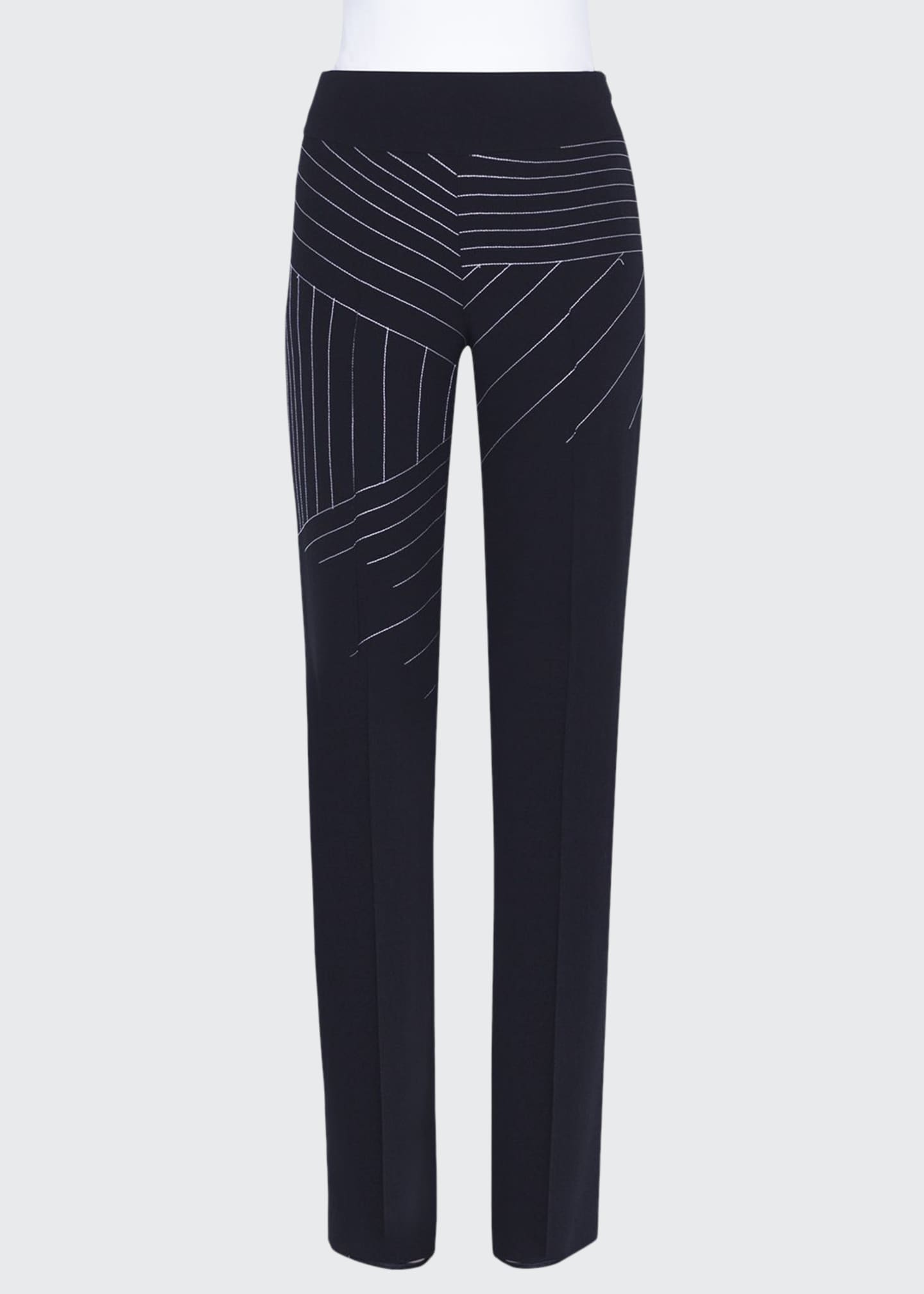 Akris Carla Swiss-Mountain Embroidered Wool Pants