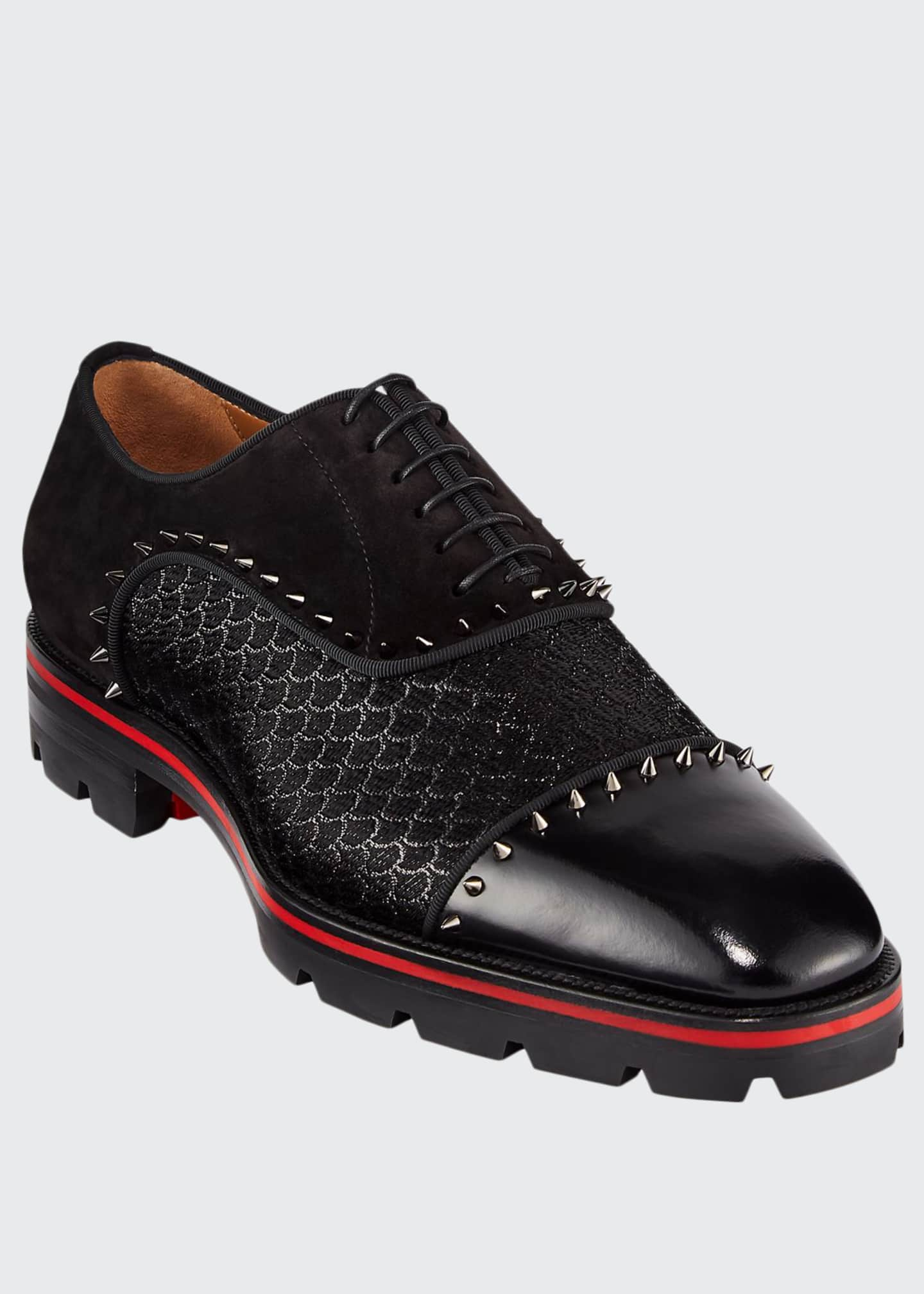 Christian Louboutin Men's Champignac Red-Sole Spiked Leather