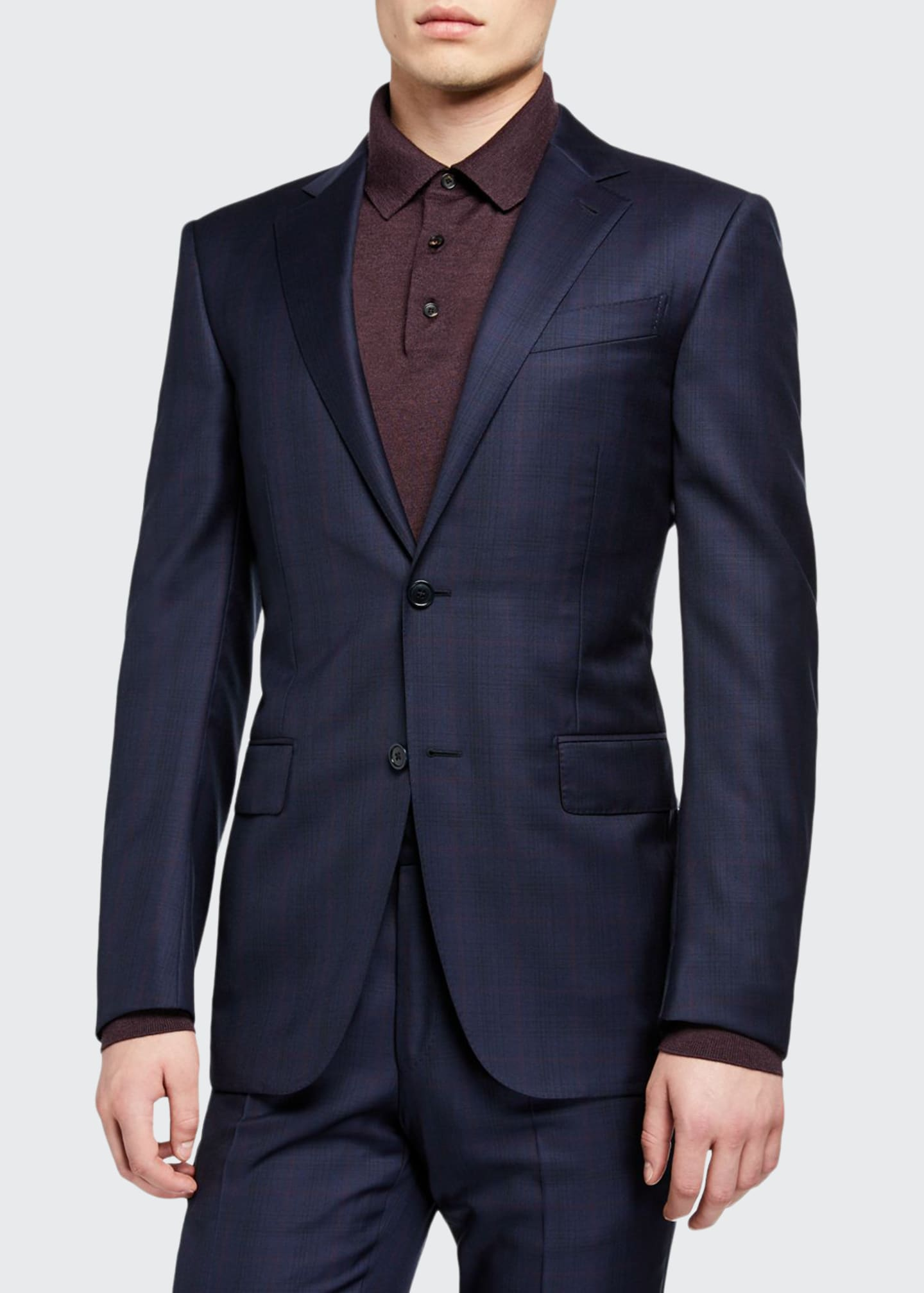 Image 1 of 4: Men's Two-Piece Plaid Regular-Fit Wool Suit