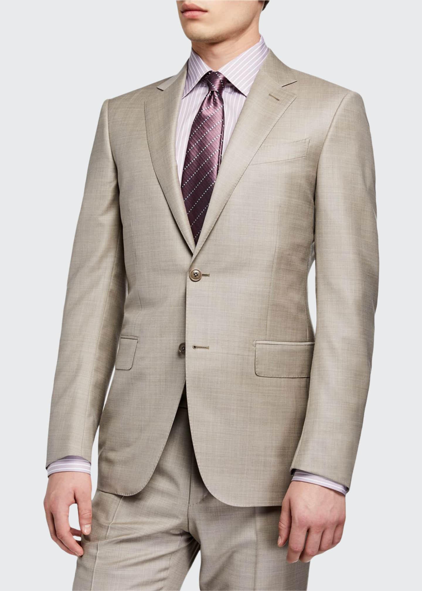 Men's Regular-Fit Heathered Two-Piece Suit, Beige