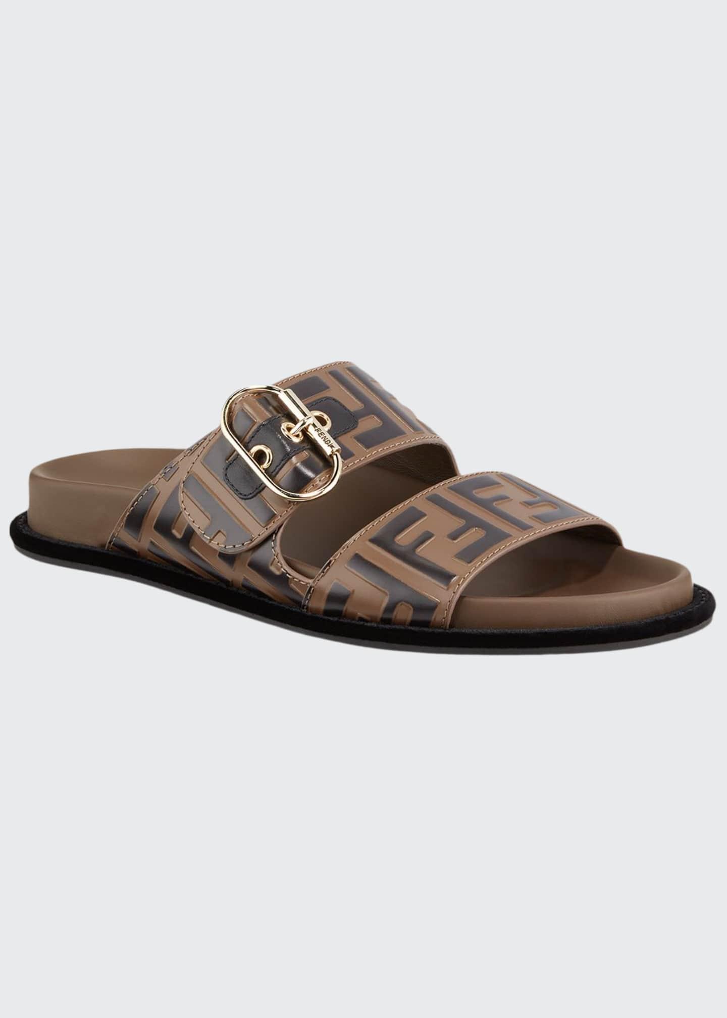 Fendi Leather FF Slide Sandals