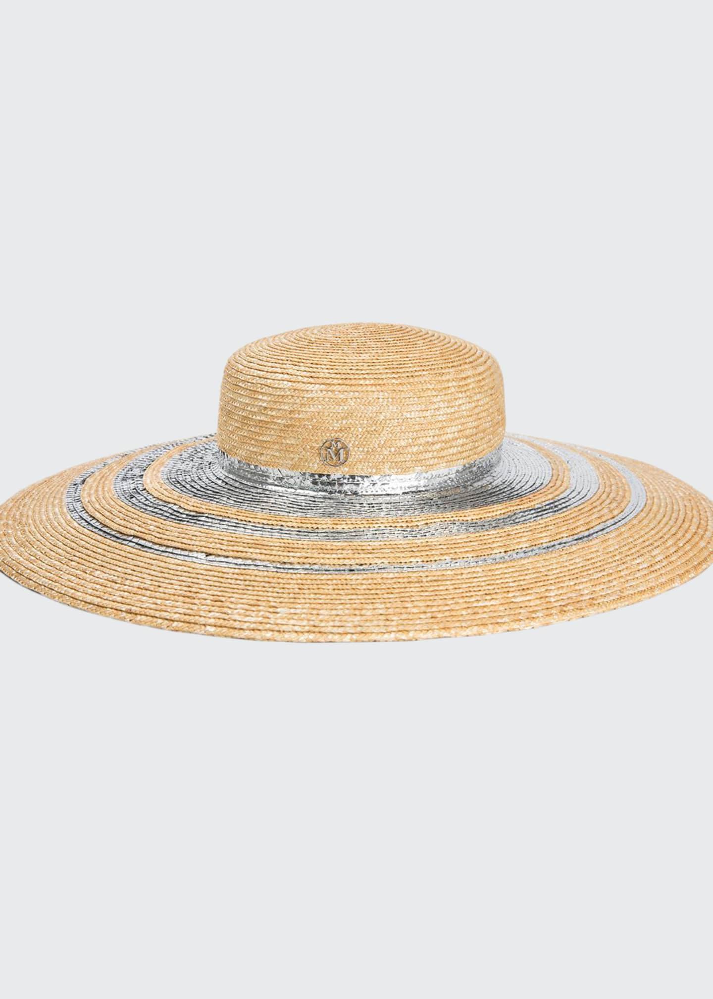 Maison Michel Bianca Metallic Trim Sun Hat