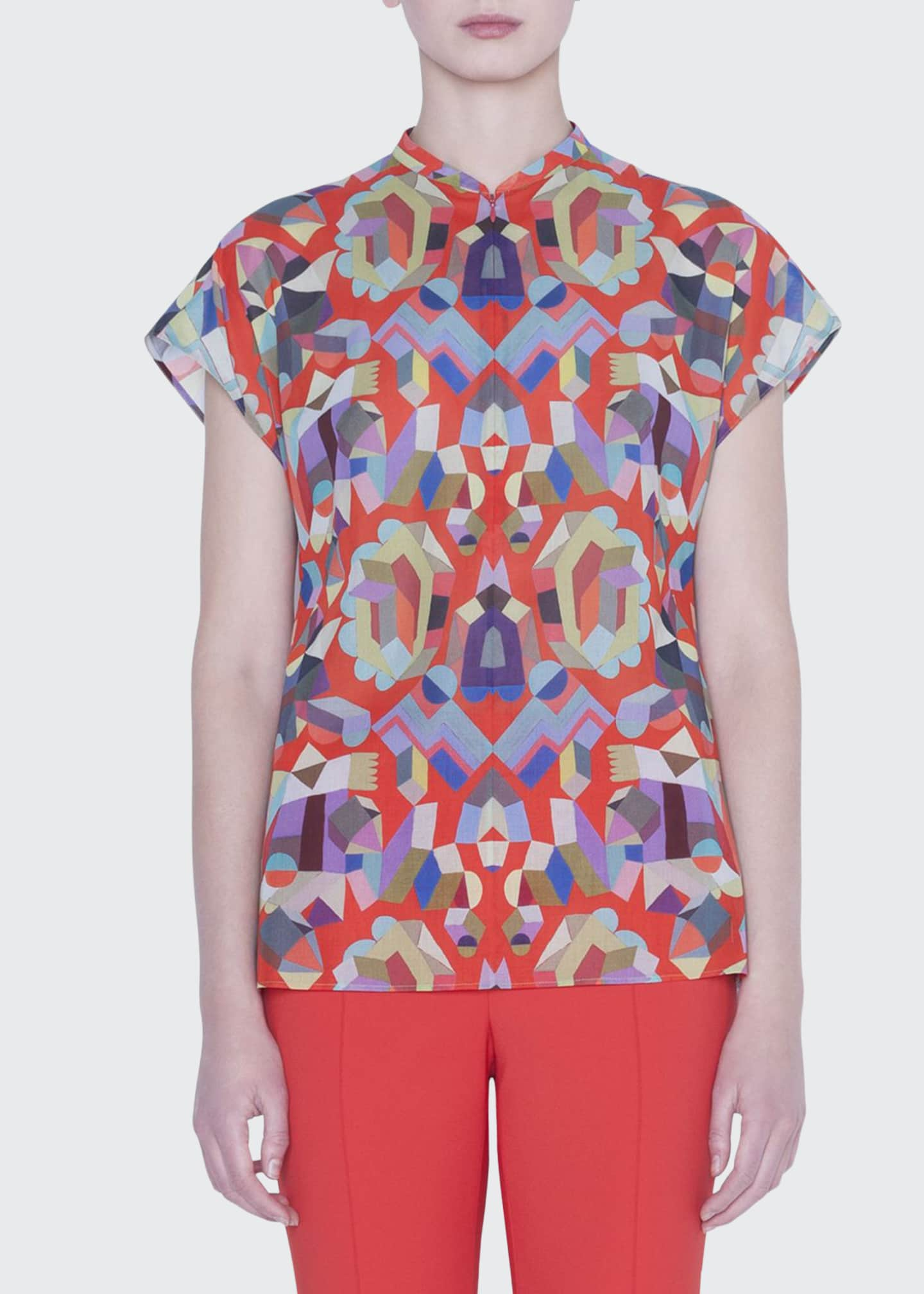 Akris Summer Printed Voile Top