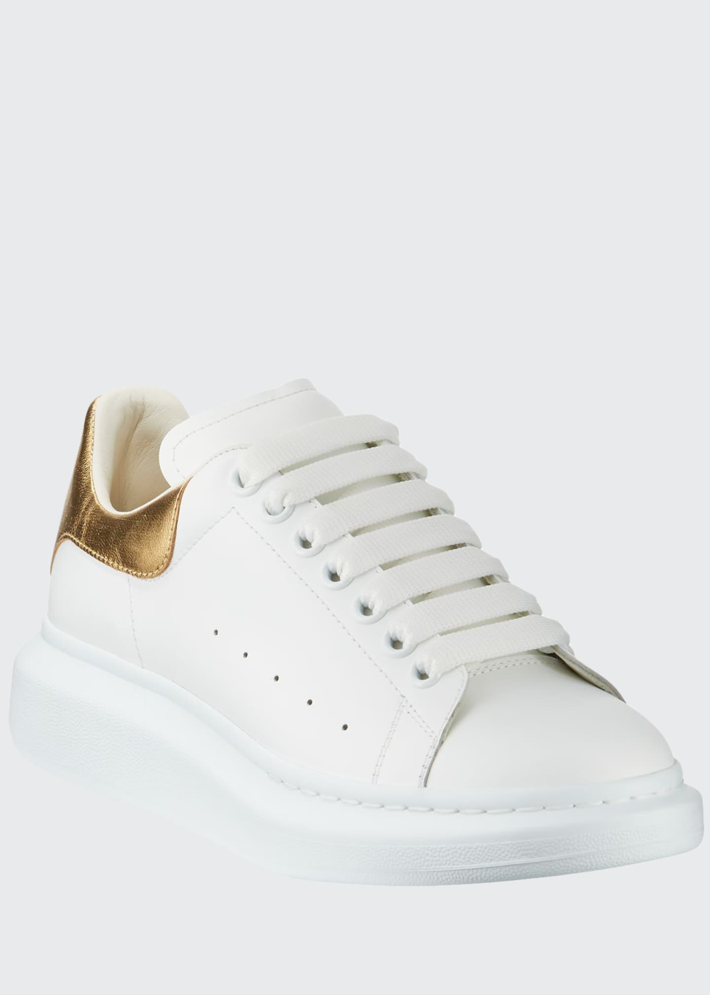 Image 1 of 3: Men's Leather Platform Sneakers with Metallic Back