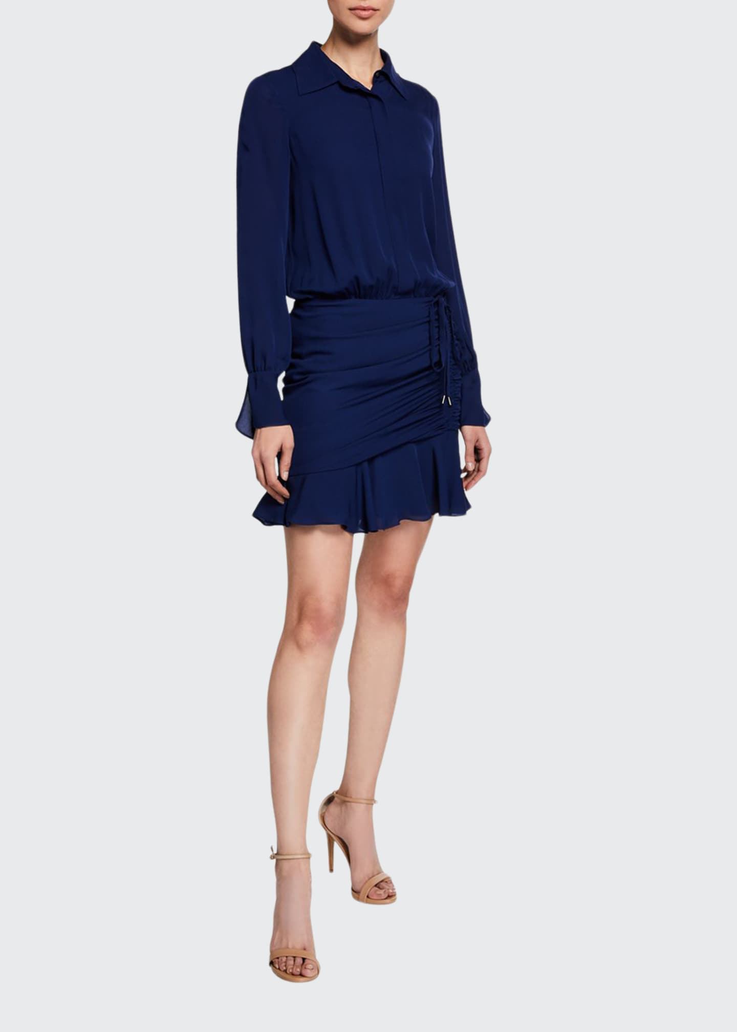 Image 1 of 2: Berkley Shirred Flounce Shirt Dress