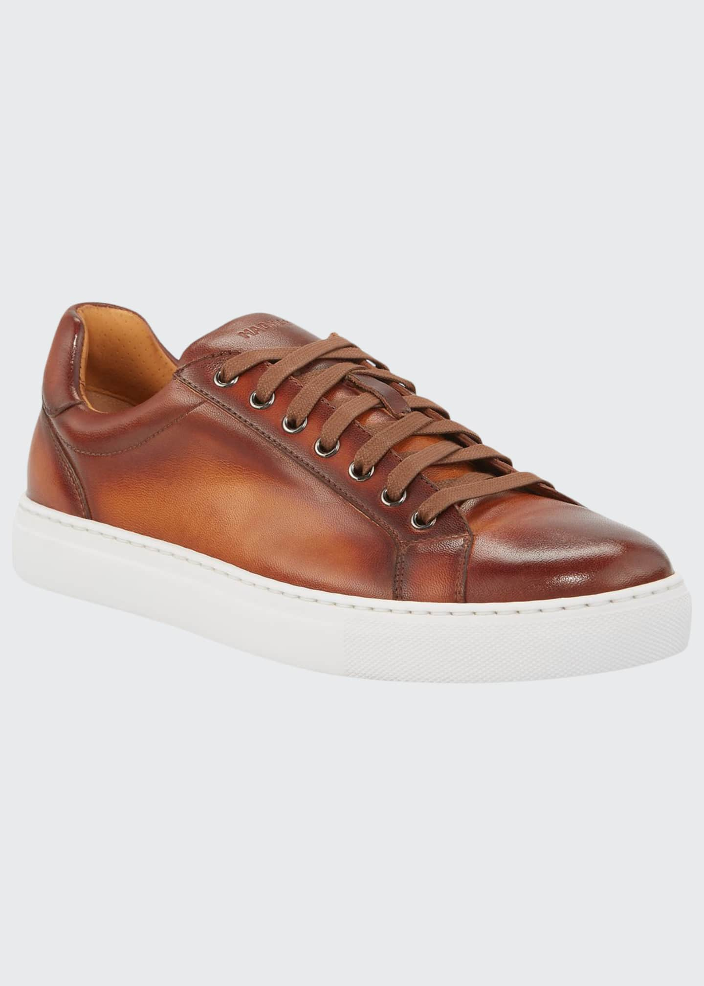 Image 1 of 3: Men's Napa Leather Low-Top Sneakers