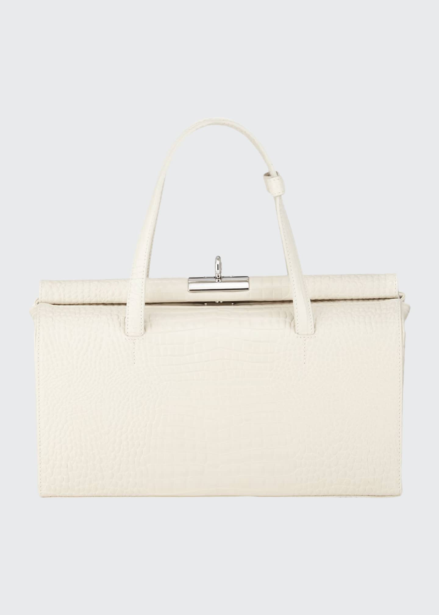 Gu_de Margot Small Croc-Embossed Top-Handle Bag