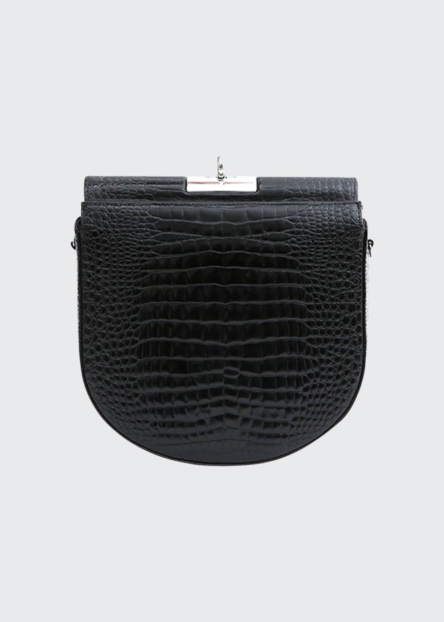 Gu_de Small Demilune Stamped Crocodile Shoulder Bag