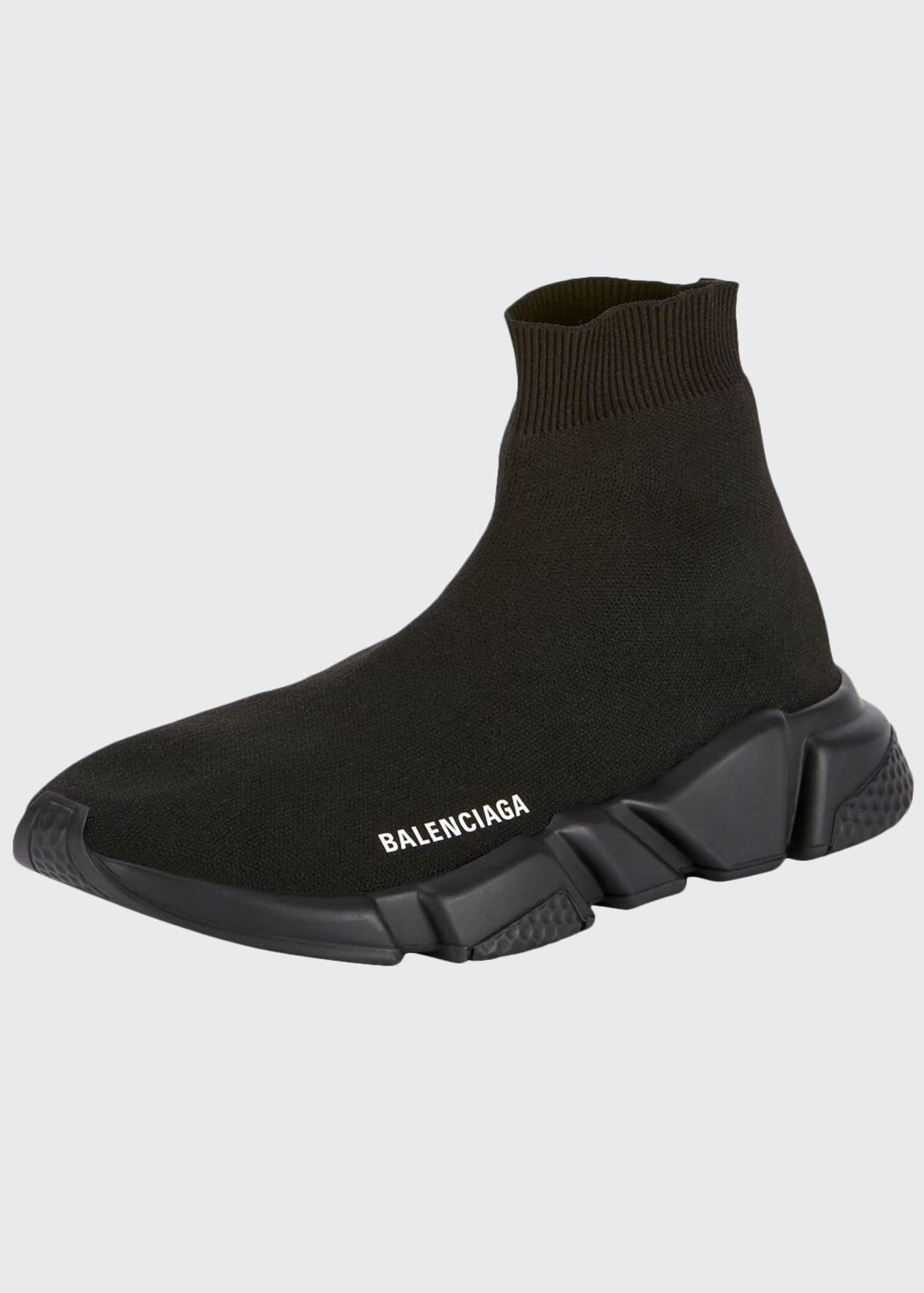 Balenciaga Men's Logo Speed Sneakers with Tonal Rubber