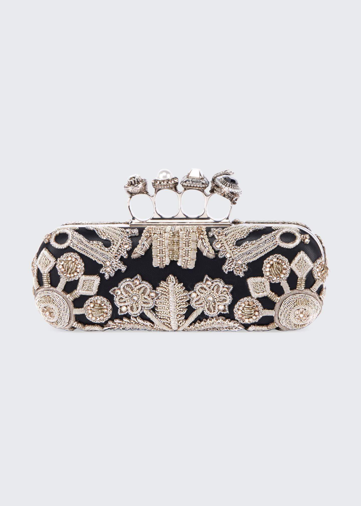Alexander McQueen Jewelled Four Ring Clutch w/ Crystal