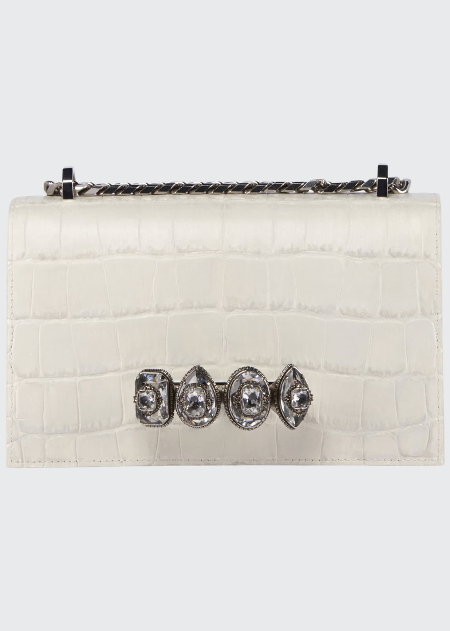 Alexander McQueen Jeweled Embossed Croc Satchel