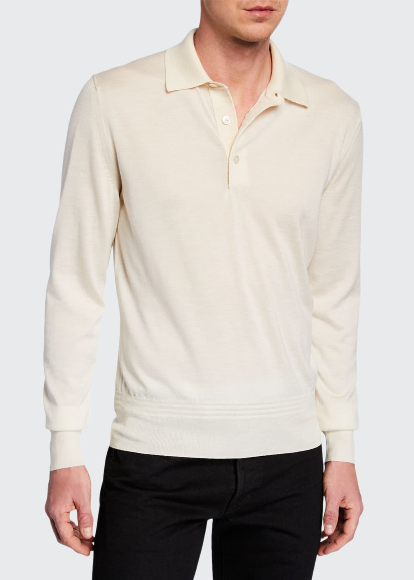 Image 1 of 2: Men's Long-Sleeve Cashmere-Silk Polo Shirt
