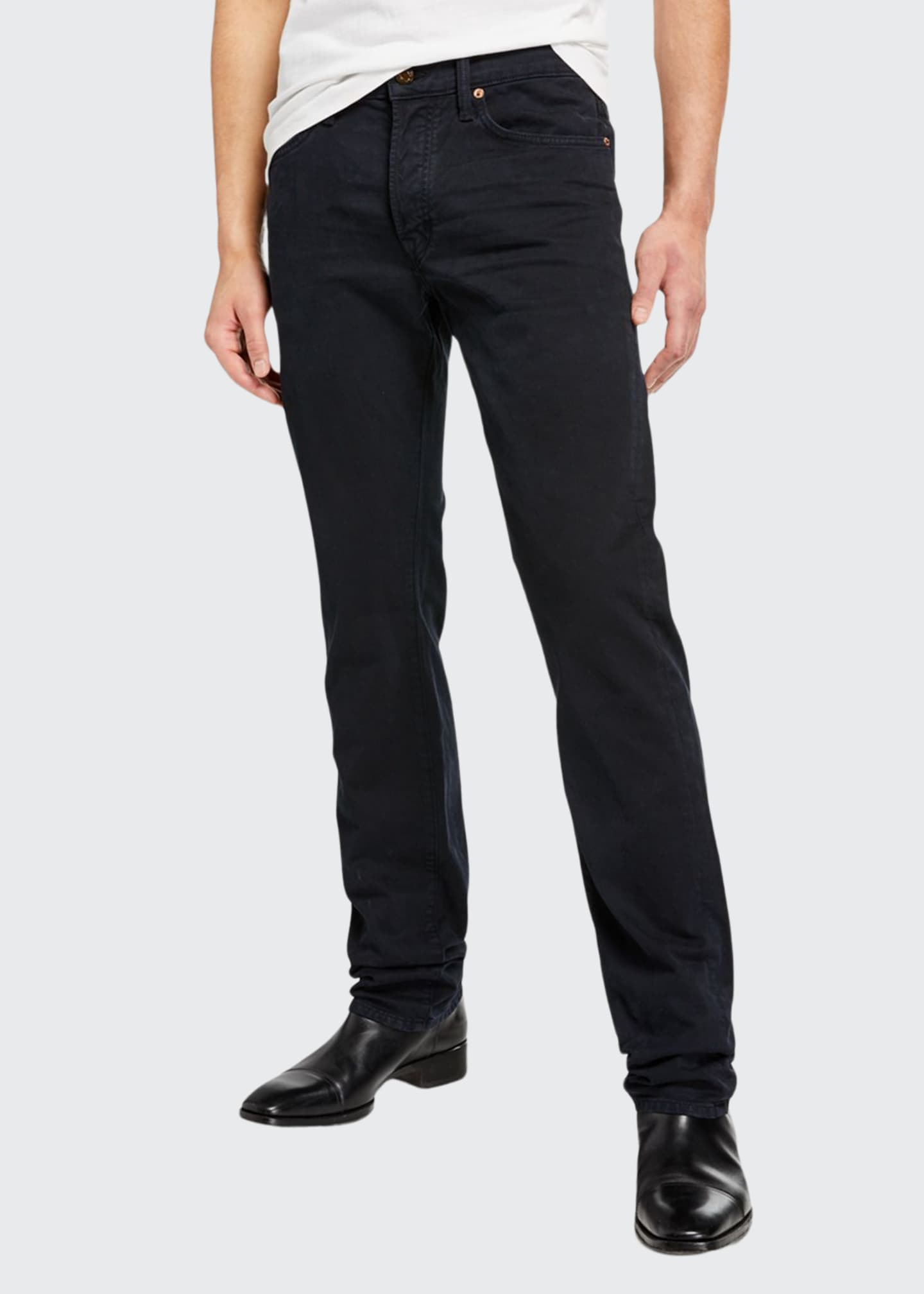 Image 1 of 3: Men's Dark-Wash Straight-Leg Jeans