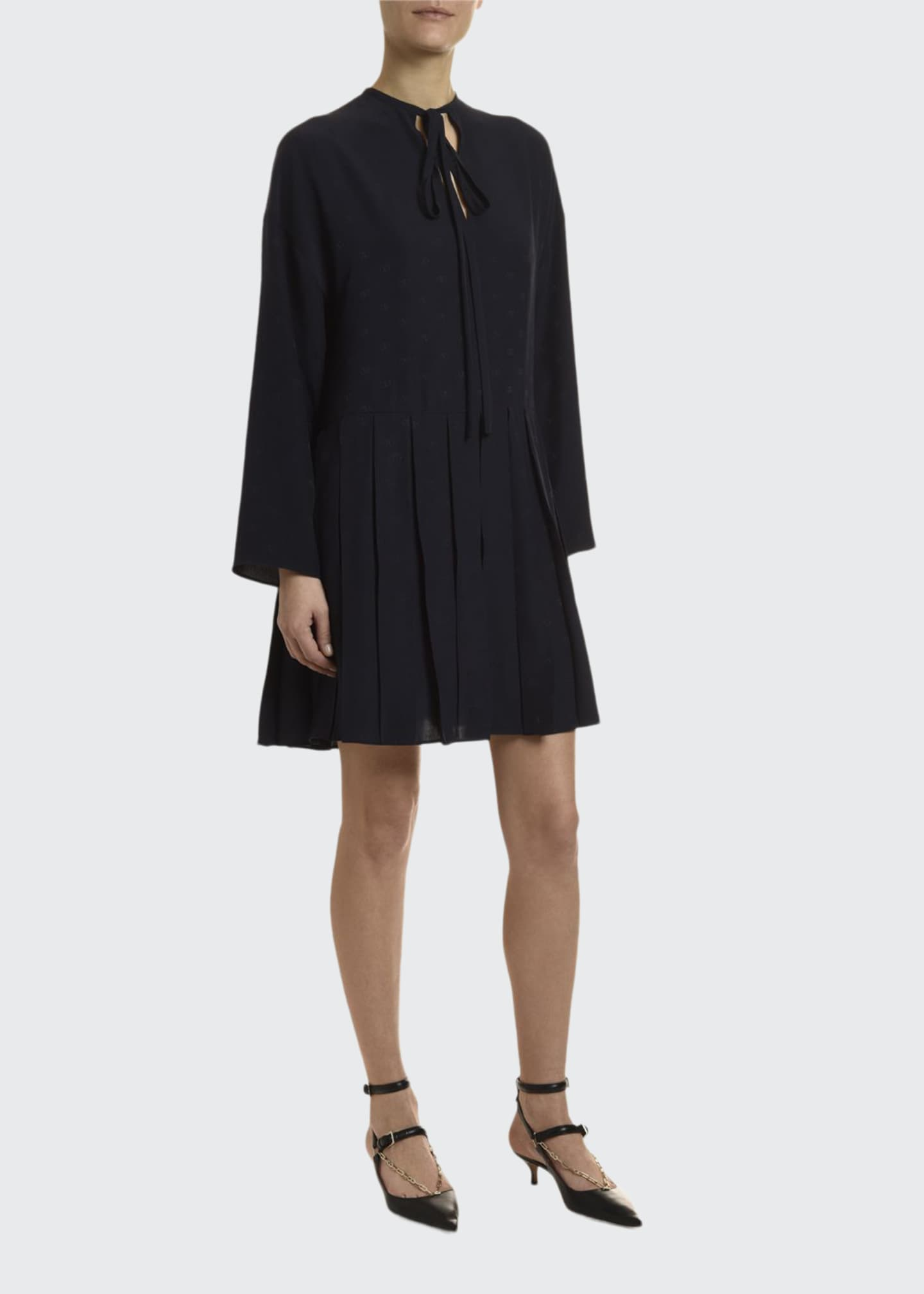 Image 1 of 2: Go Logo Satin Long-Sleeve Tie-Neck Dress