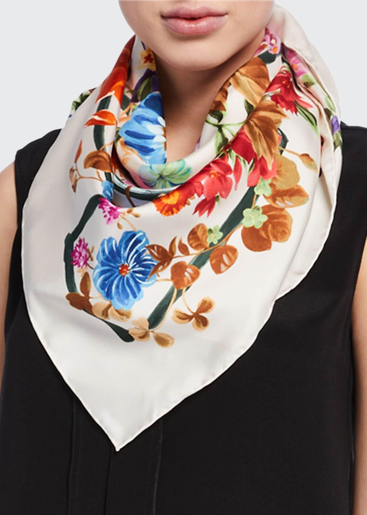 Salvatore Ferragamo Fiorile Floral-Printed Silk Scarf
