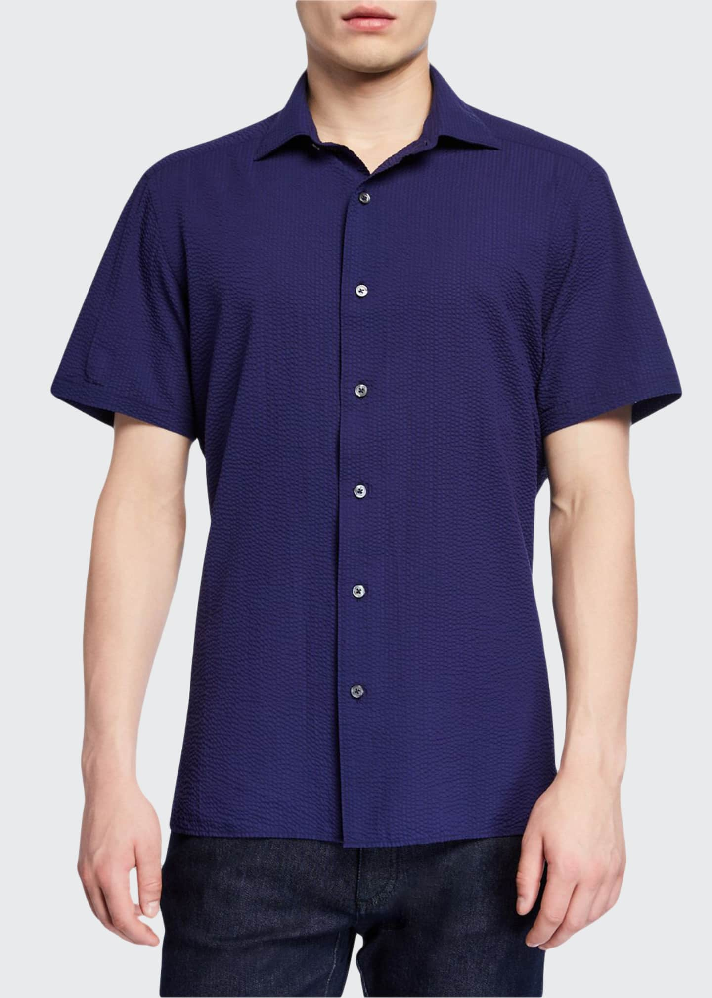 Ermenegildo Zegna Men's Seersucker Short-Sleeve Sport Shirt, Navy