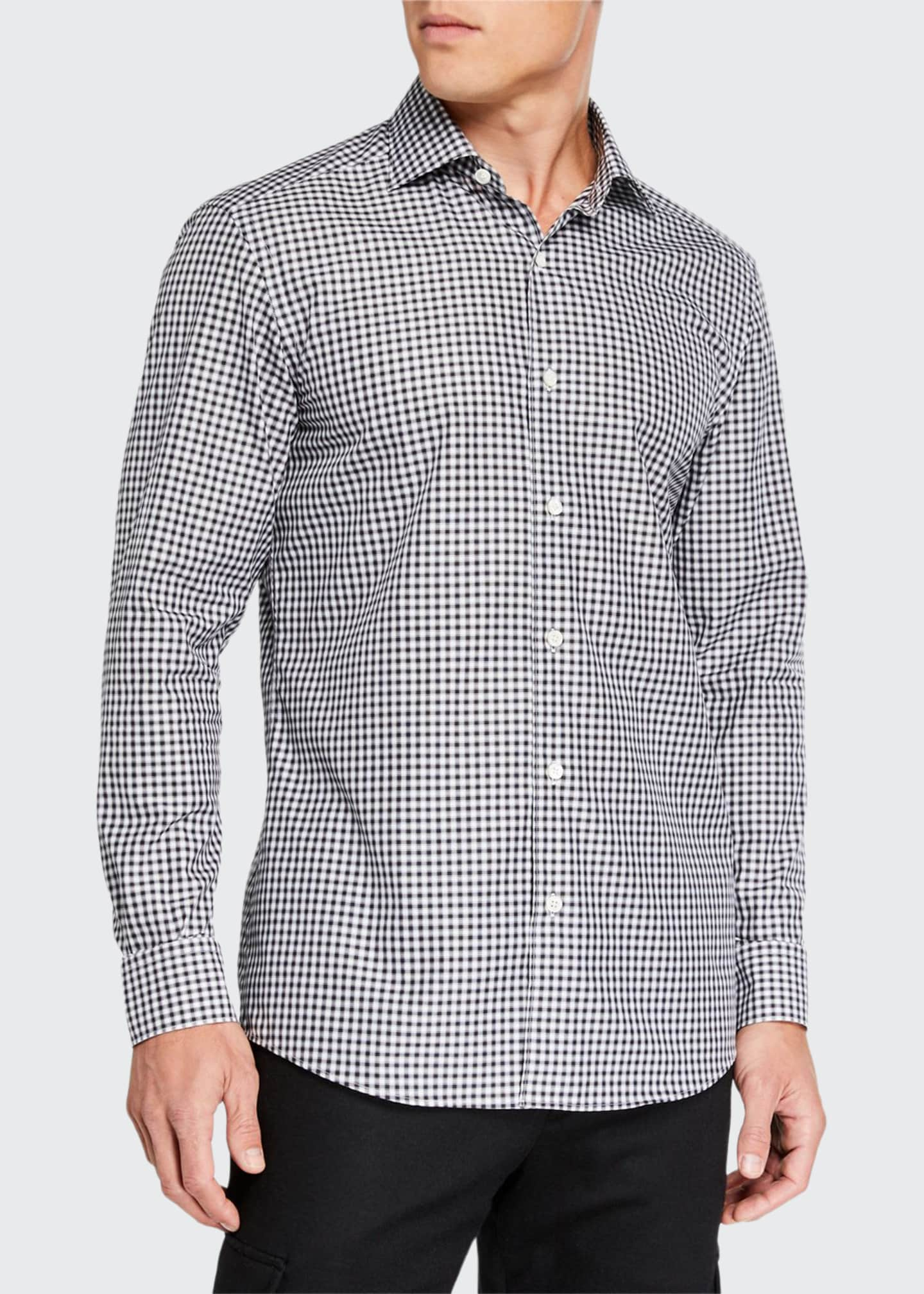 Image 1 of 3: Men's Gingham Traveler Regular-Fit Sport Shirt