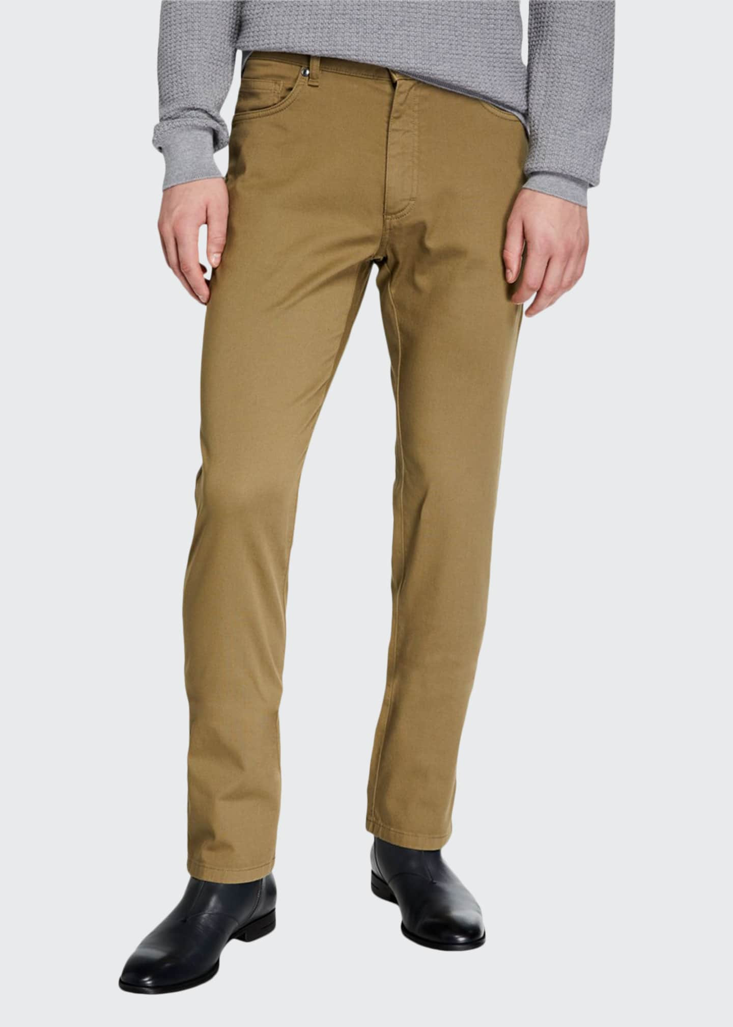 Image 1 of 3: Men's 5-Pocket Straight-Leg Canvas Regular-Fit Pants
