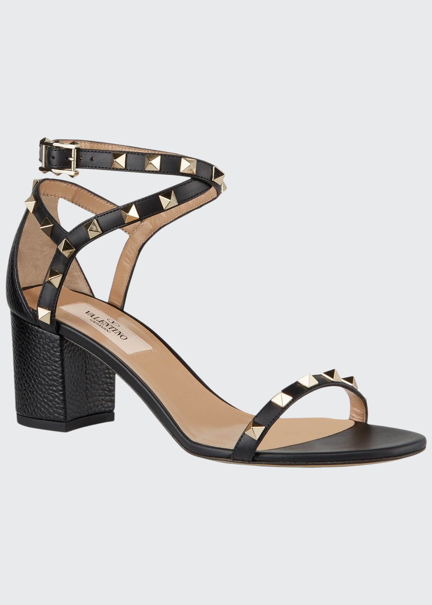 Image 1 of 3: 60 mm Rockstud Leather Sandals