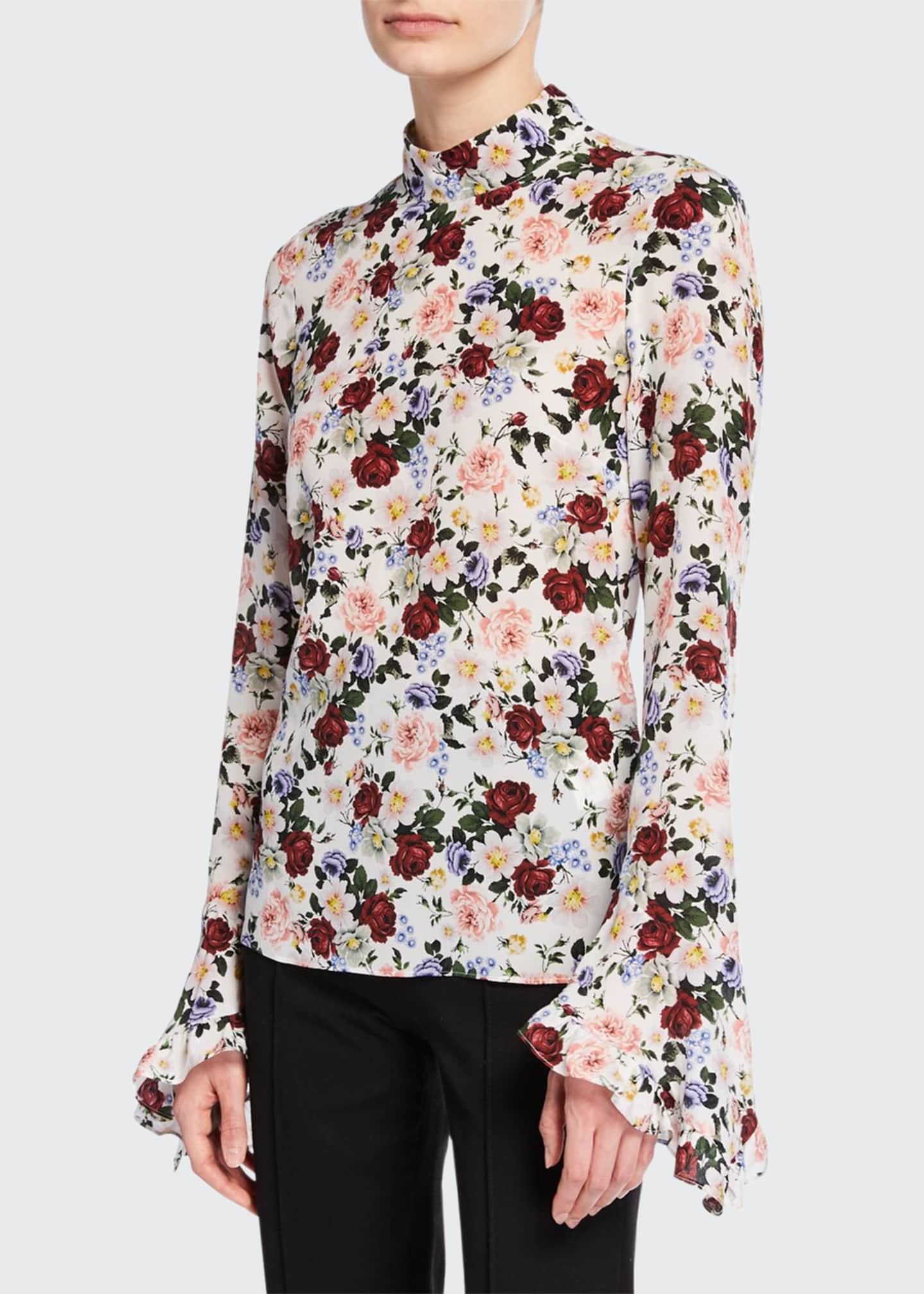 Erdem Lindsey Floral Mock-Neck Bell-Sleeve Blouse