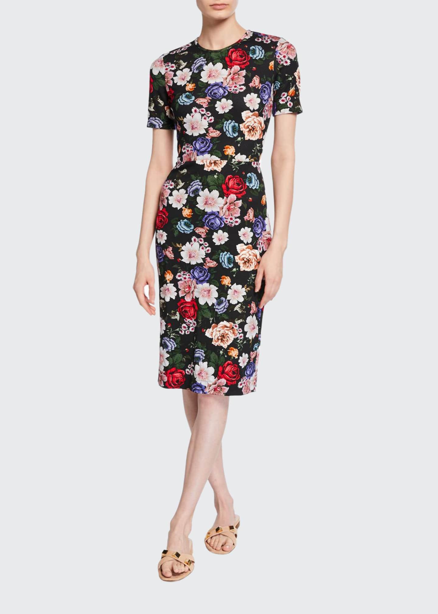 Erdem Essie Short-Sleeve Floral Sheath Dress