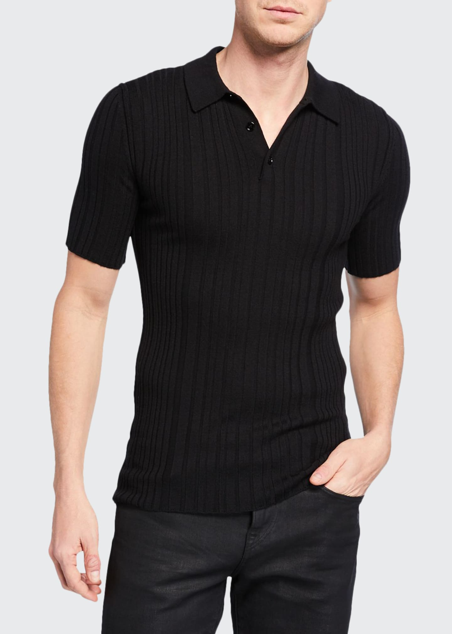 Image 1 of 2: Men's Ribbed Knit Wool Polo Shirt